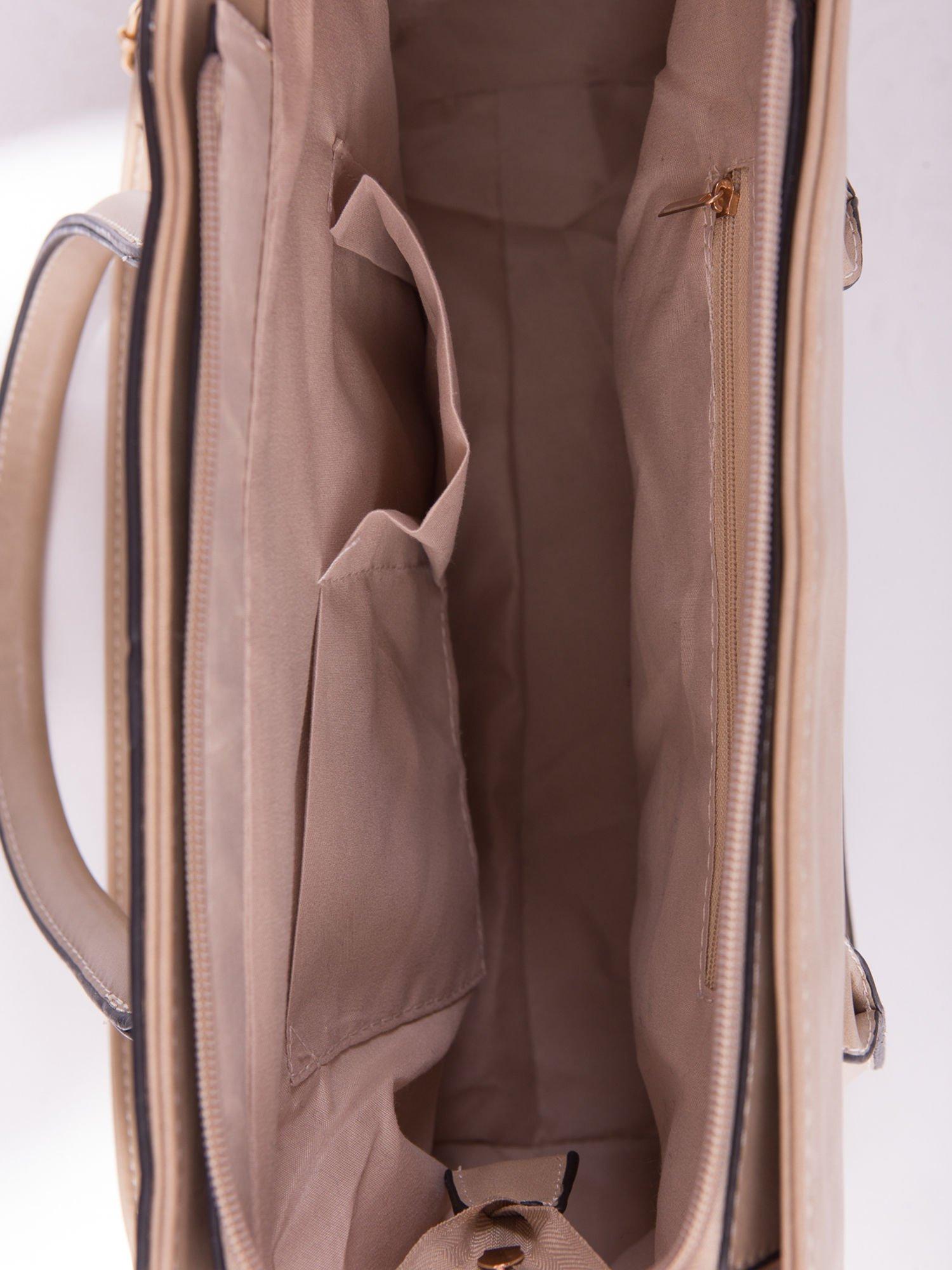 Beżowa torebka teczka z klapką                                  zdj.                                  5