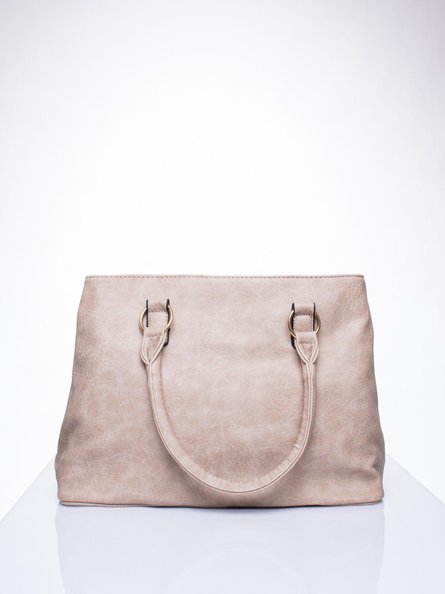 Beżowa torebka ze złotymi okuciami z kryształkami                                  zdj.                                  3
