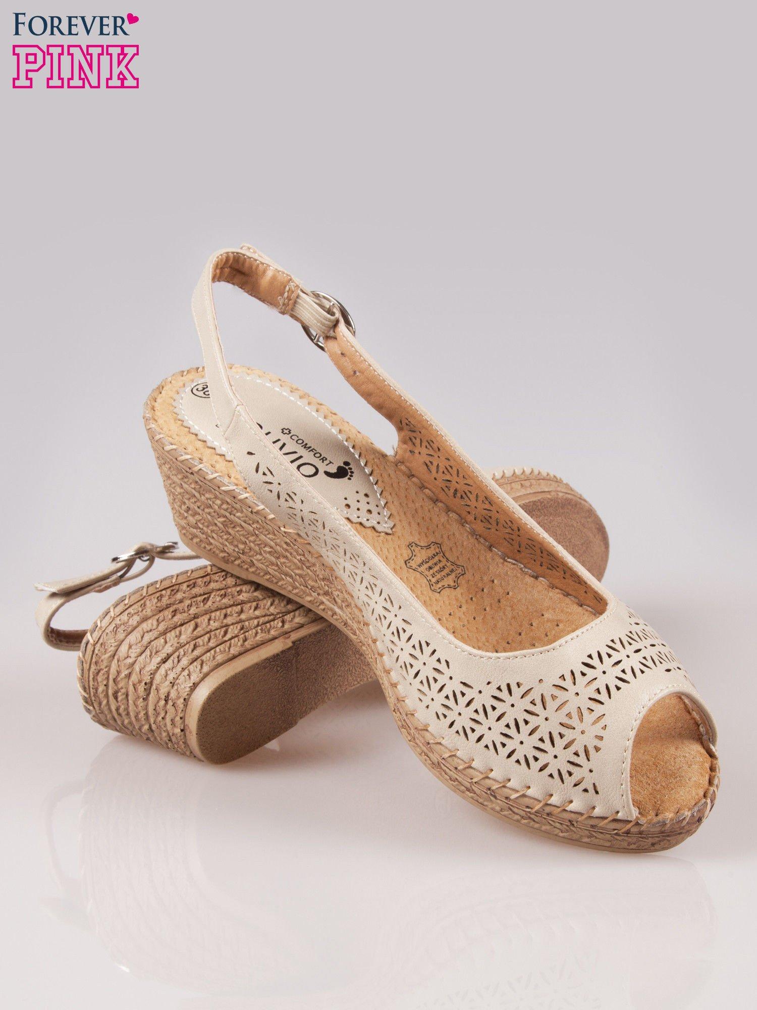 Beżowe ażurowe sandały peep toe na korkowym koturnie Lovina                                  zdj.                                  4