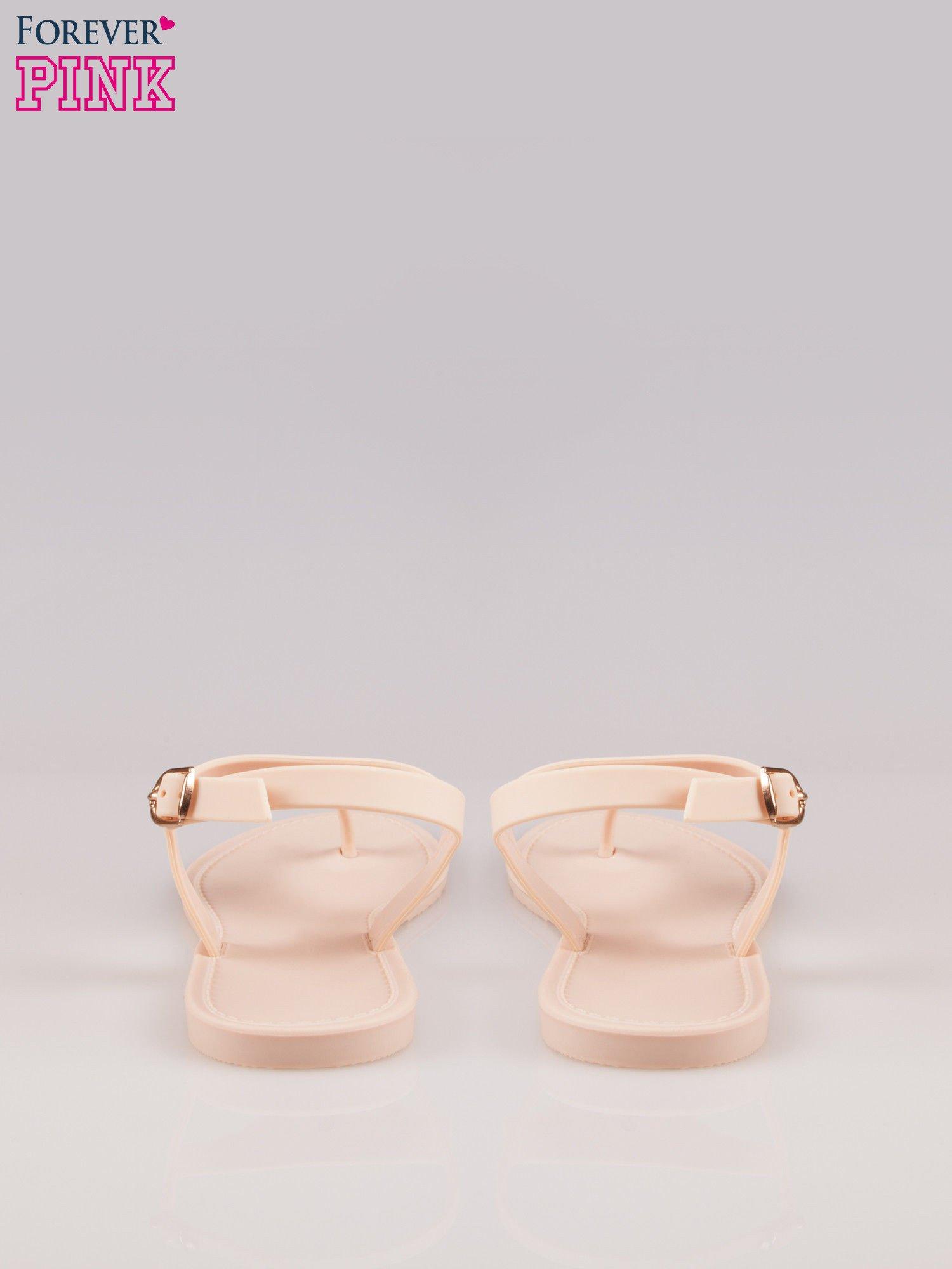 Beżowe gumowe sandały japonki z biżuteryjnym dodatkiem                                  zdj.                                  3