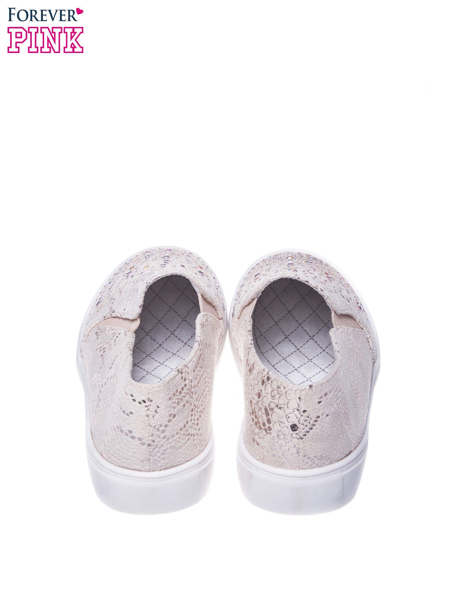 Beżowe wężowe buty slip on z dżetami Wild                                  zdj.                                  3