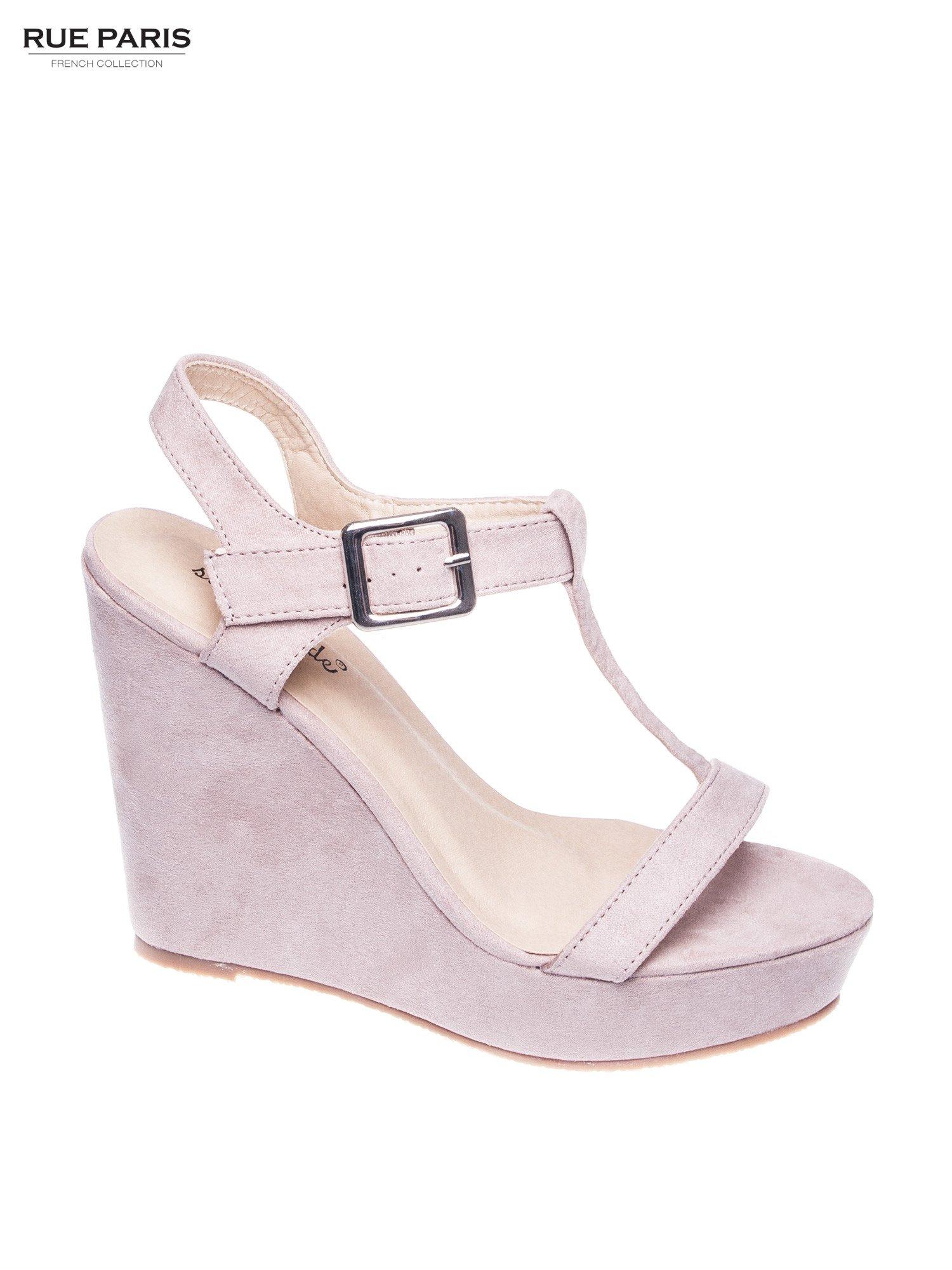 Beżowe zamszowe sandały t-bary na koturnie                                  zdj.                                  1