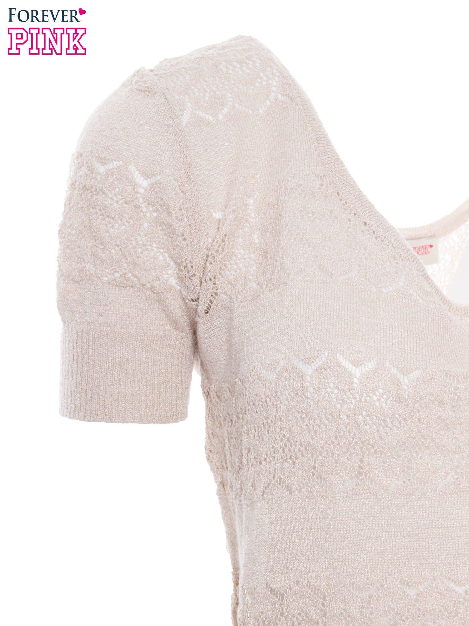 Beżowy ażurowy sweterek w stylu retro                                  zdj.                                  6