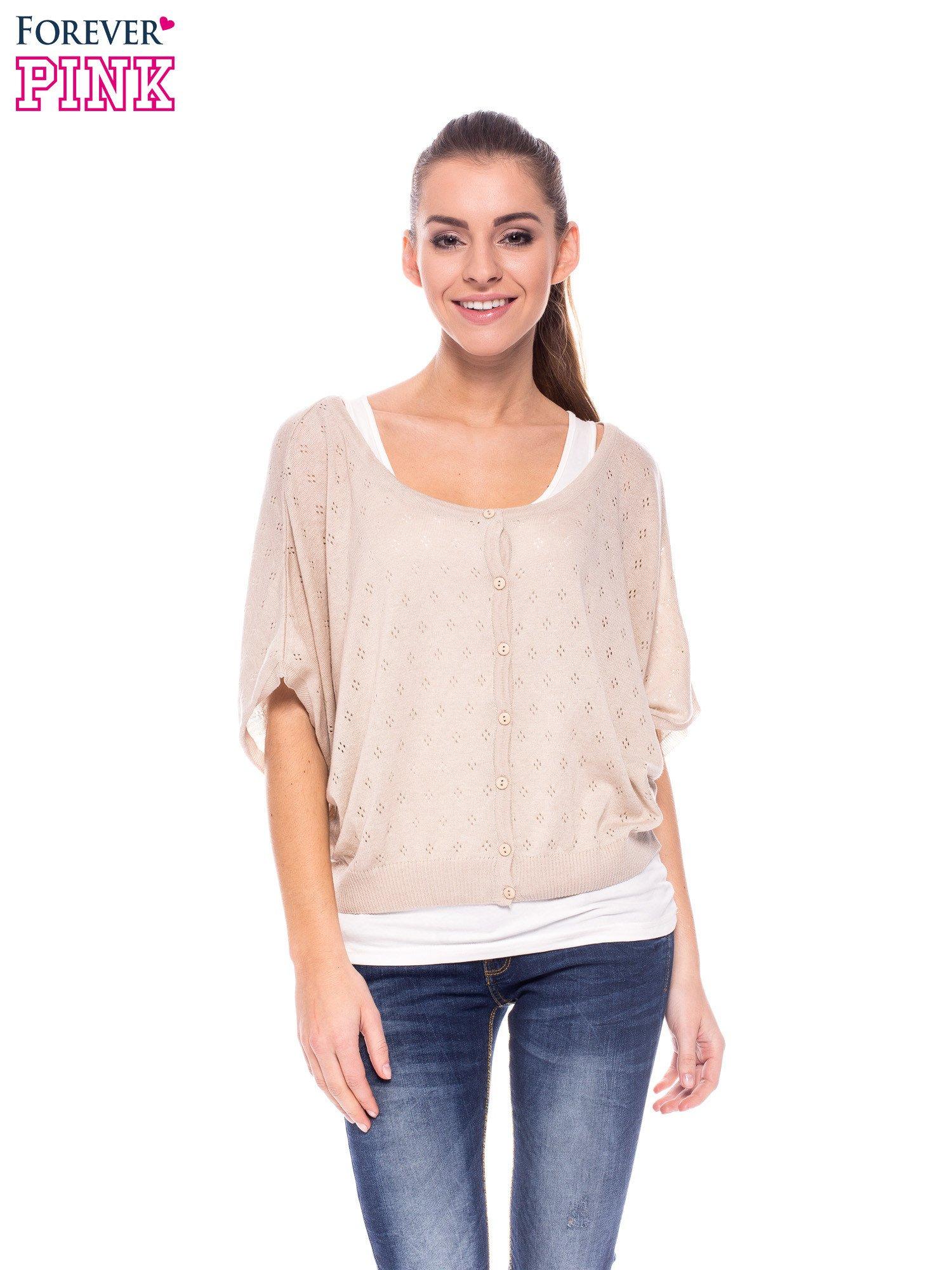 Beżowy ażurowy sweterek z krótkim rękawem                                  zdj.                                  1
