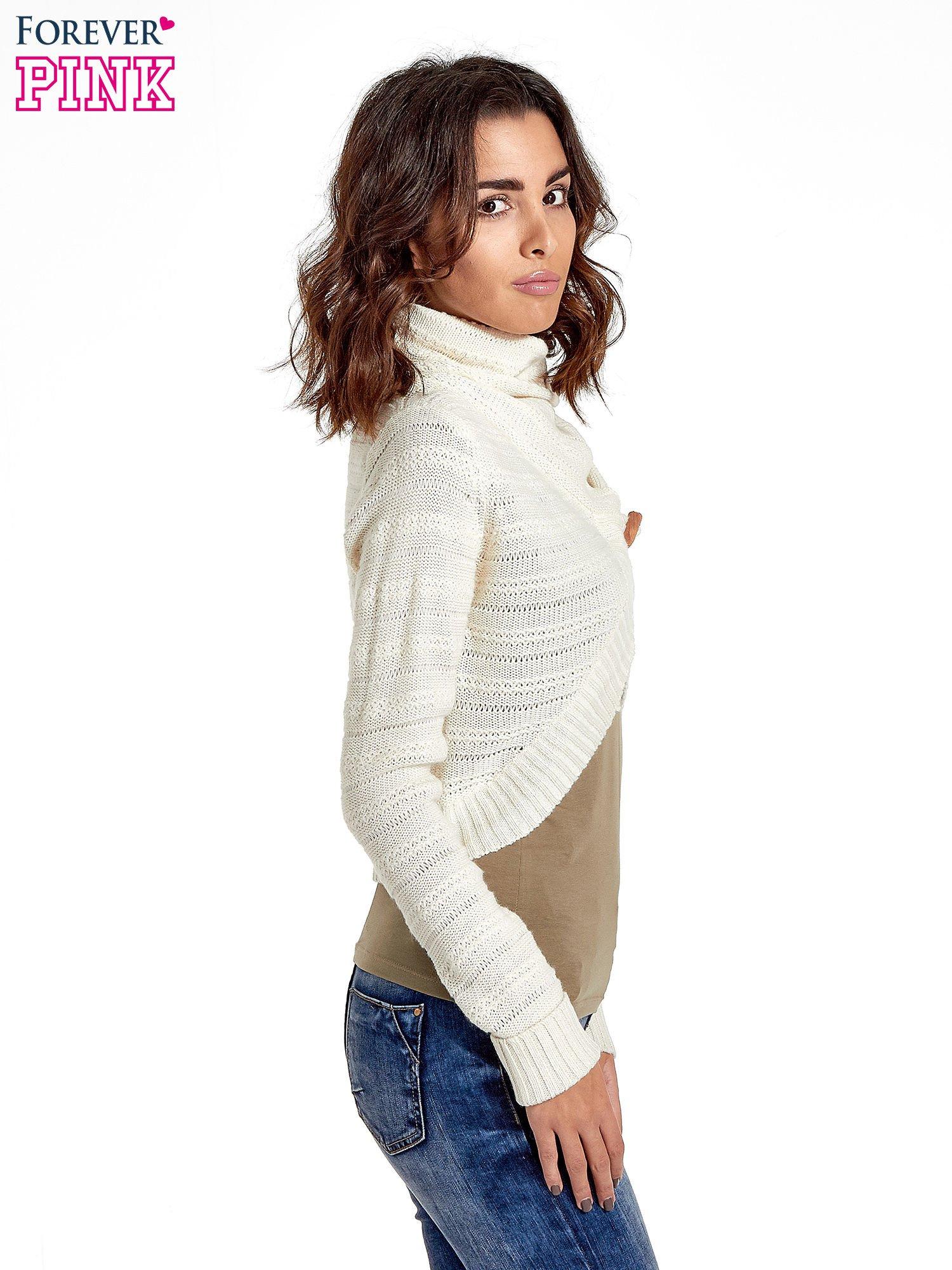 Beżowy krótki sweter narzutka z kołnierzem                                  zdj.                                  6