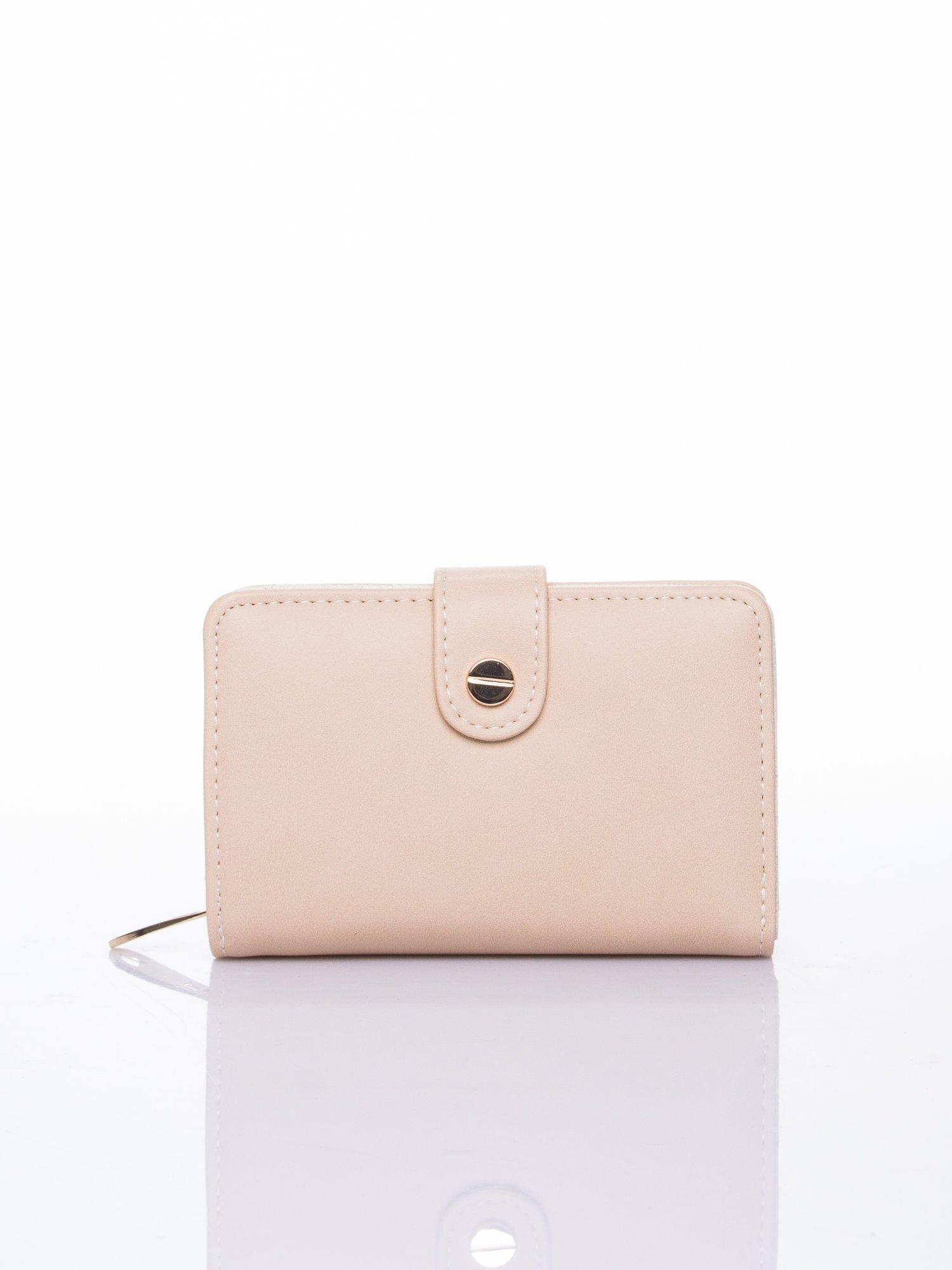 Beżowy portfel z zatrzaskiem                                  zdj.                                  1