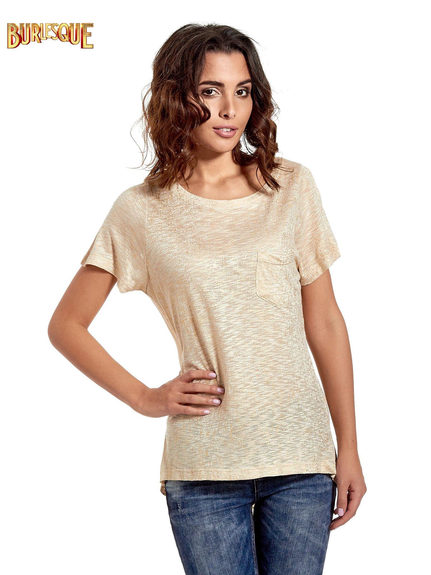 Beżowy t-shirt w złote plamki                                  zdj.                                  1