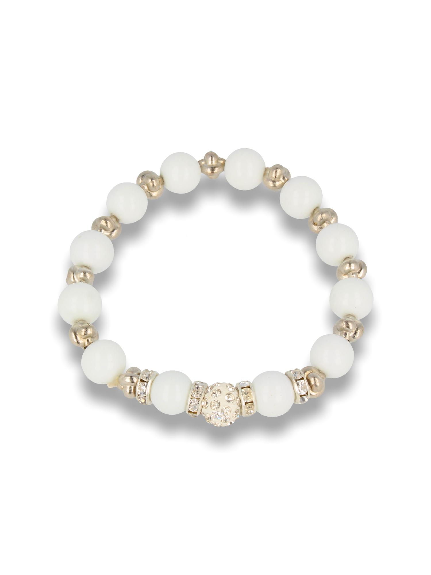 Biała Bransoletka koralikowa z kulką schamballa                                  zdj.                                  1