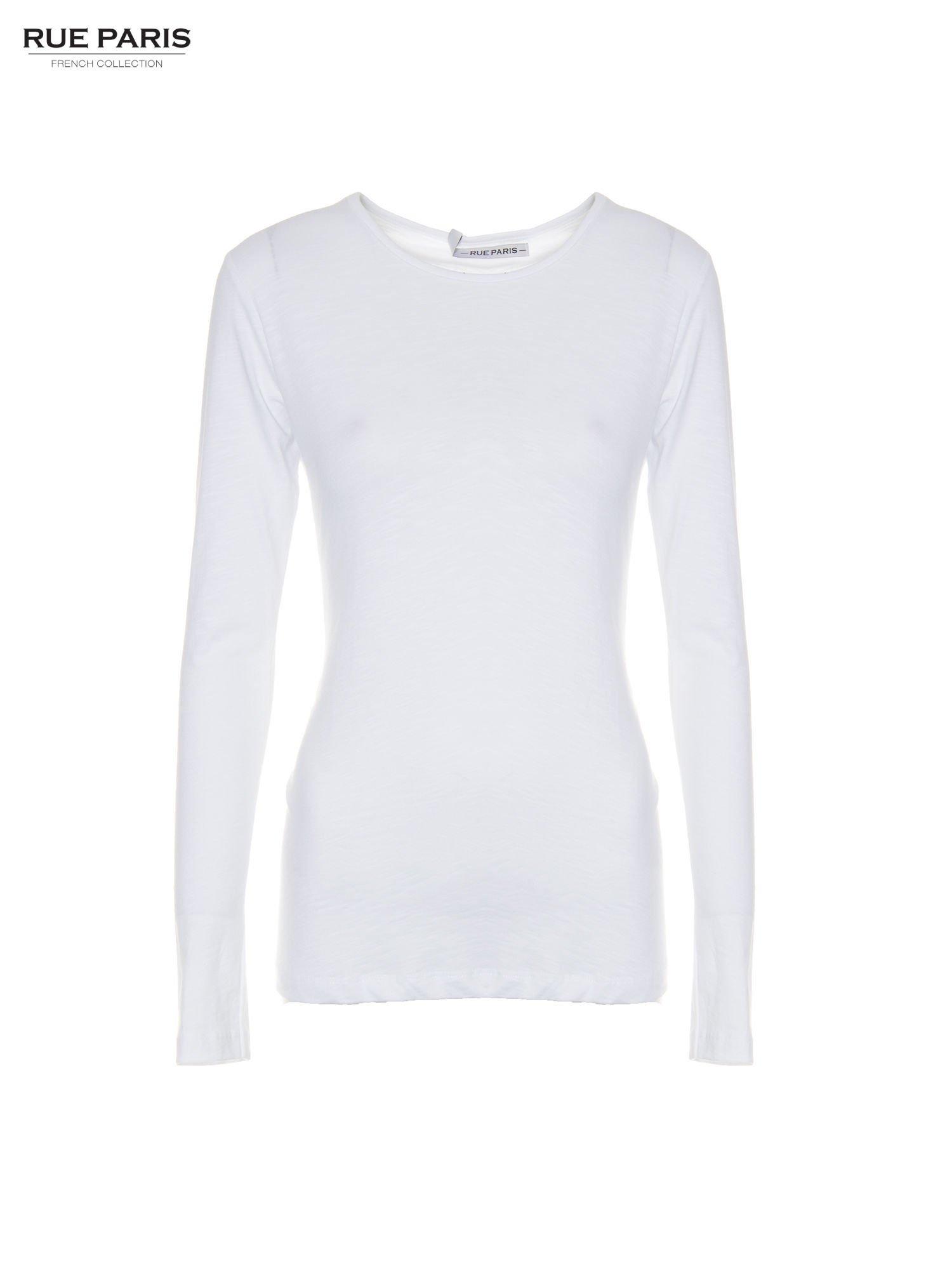 Biała basicowa bluzka z długim rękawem                                  zdj.                                  5