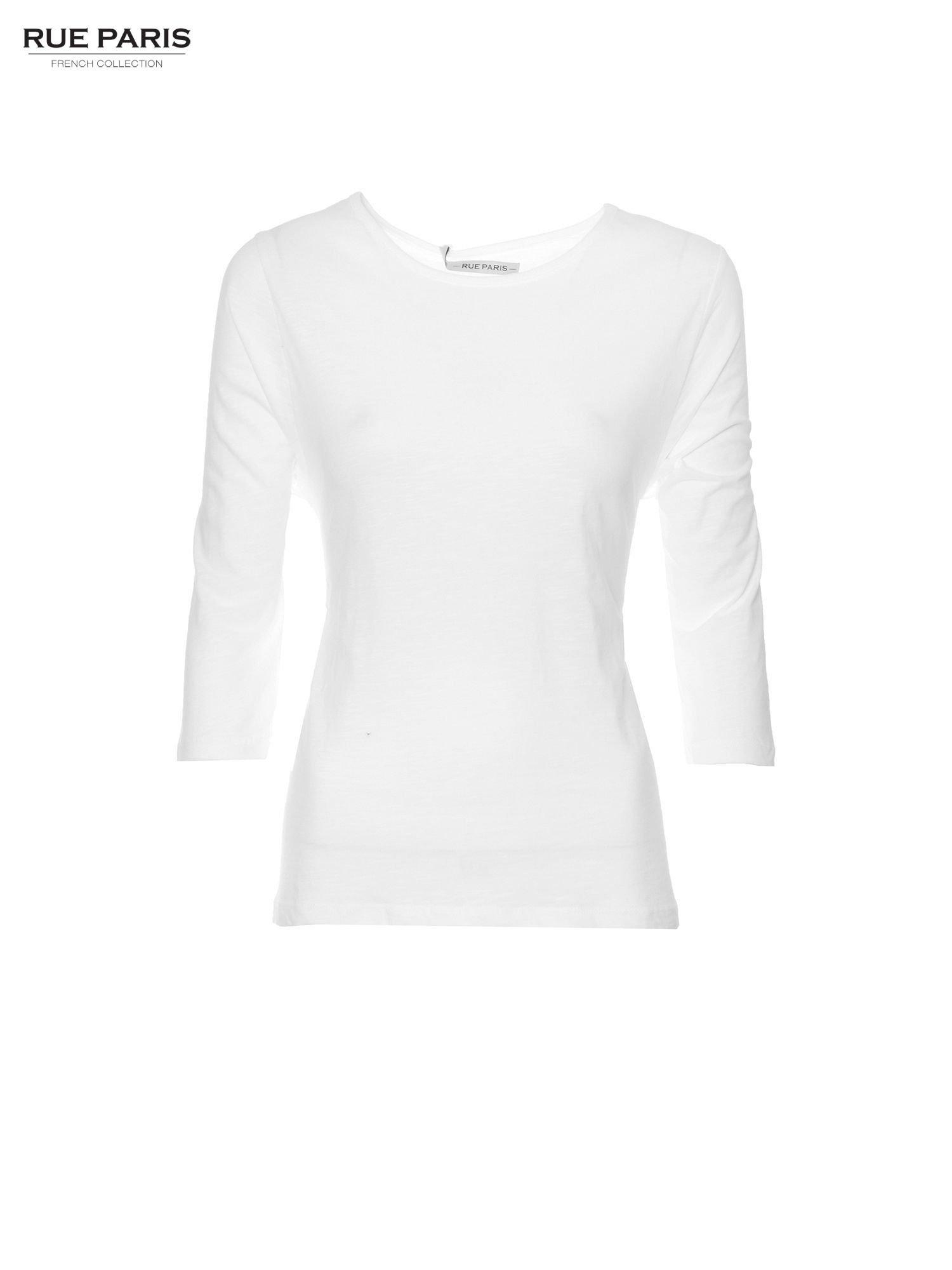 Biała basicowa bluzka z rękawem 3/4                                  zdj.                                  5