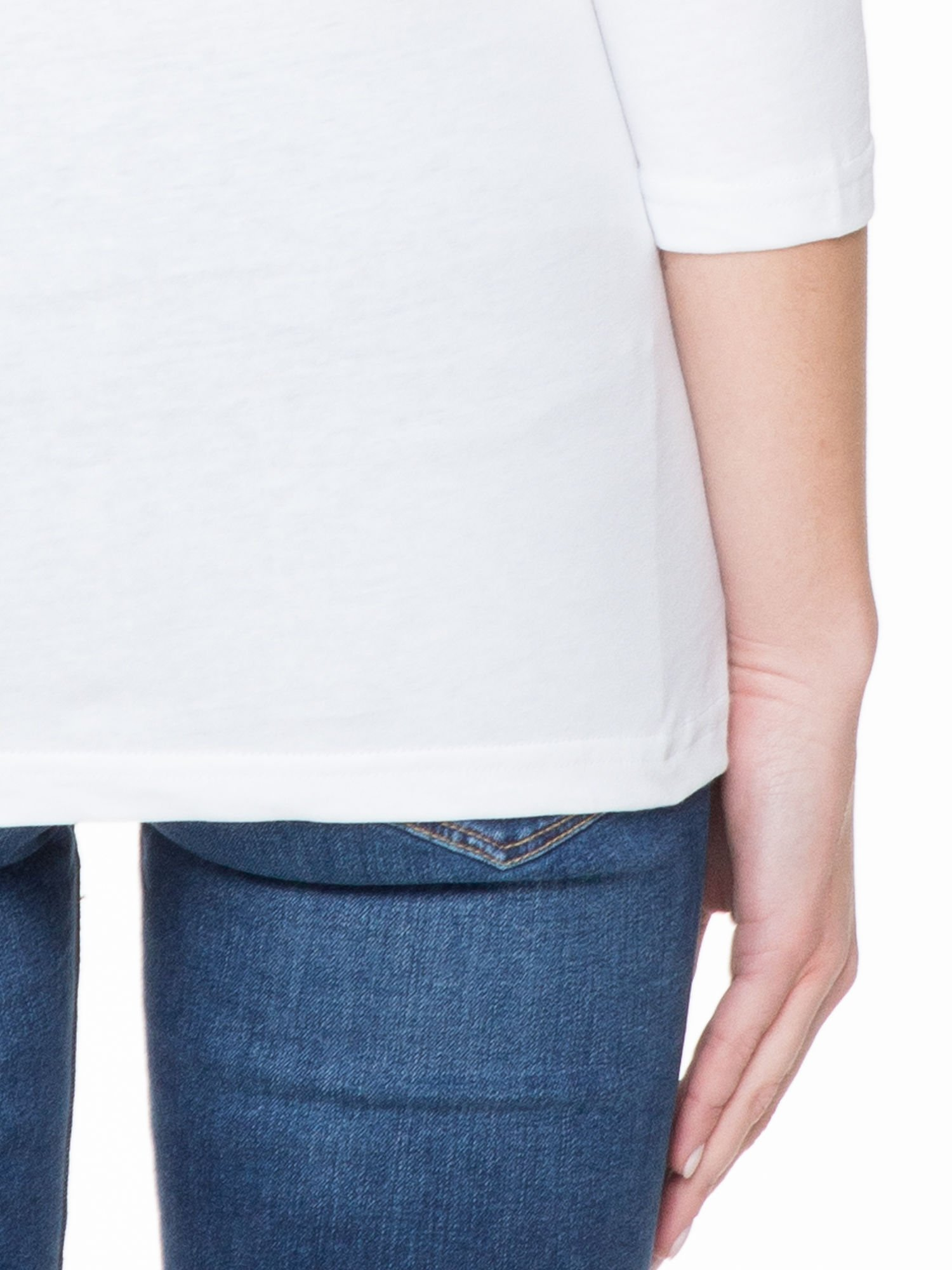 Biała basicowa gładka bluzka z rękawem 7/8                                  zdj.                                  6