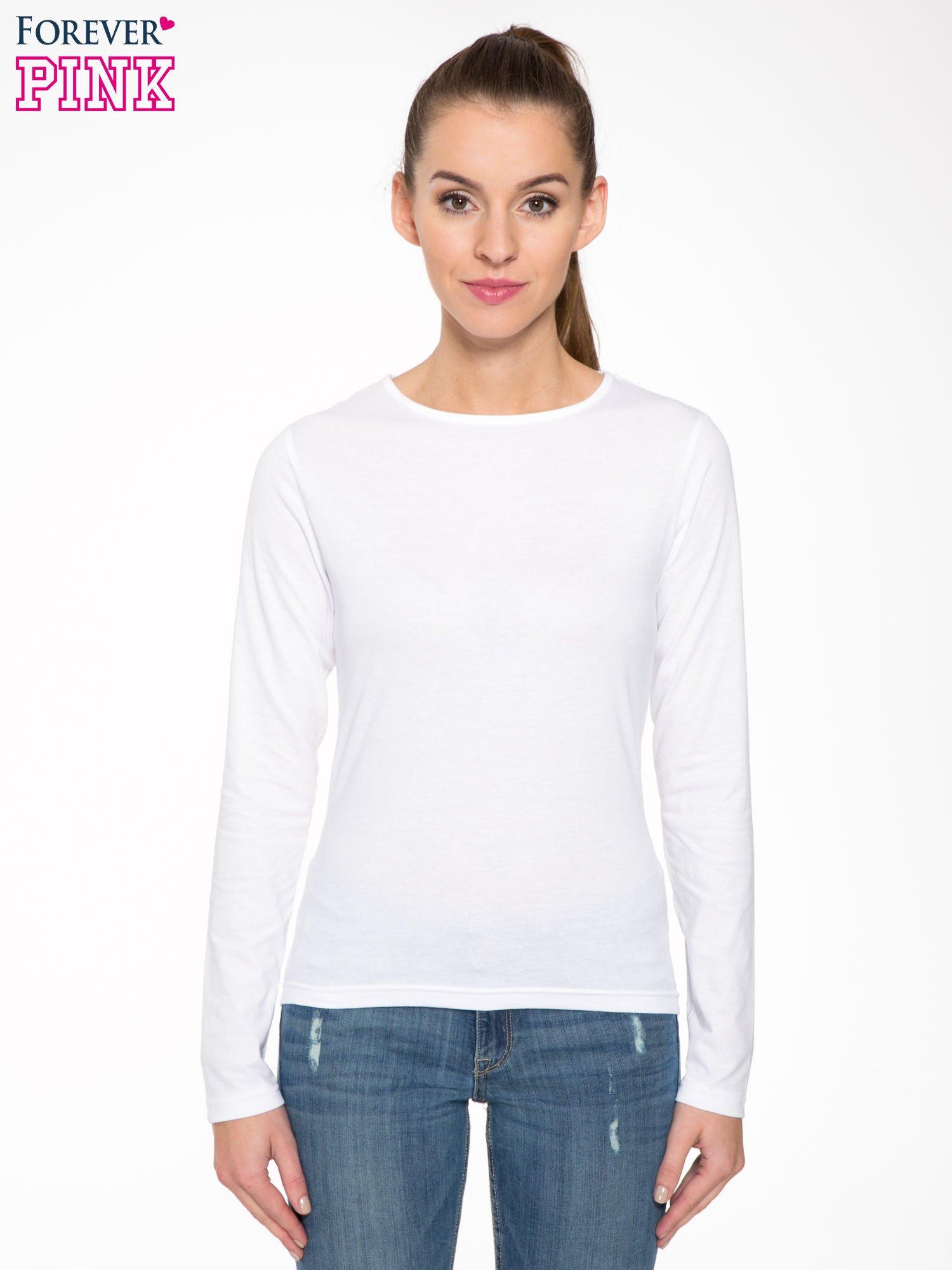 Biała bawełniana bluzka typu basic z długim rękawem                                  zdj.                                  1