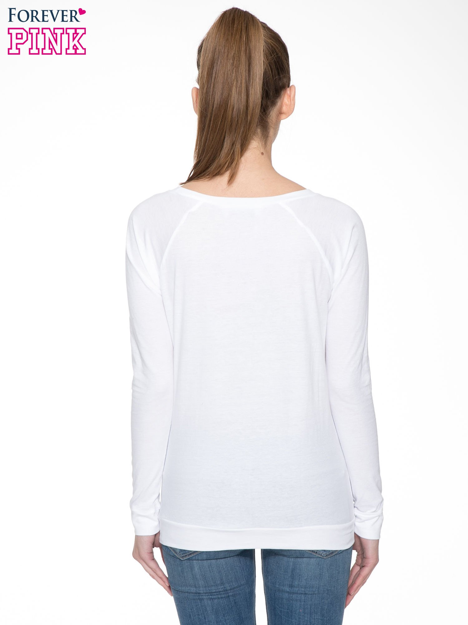 Biała bawełniana bluzka z rękawami typu reglan                                  zdj.                                  4