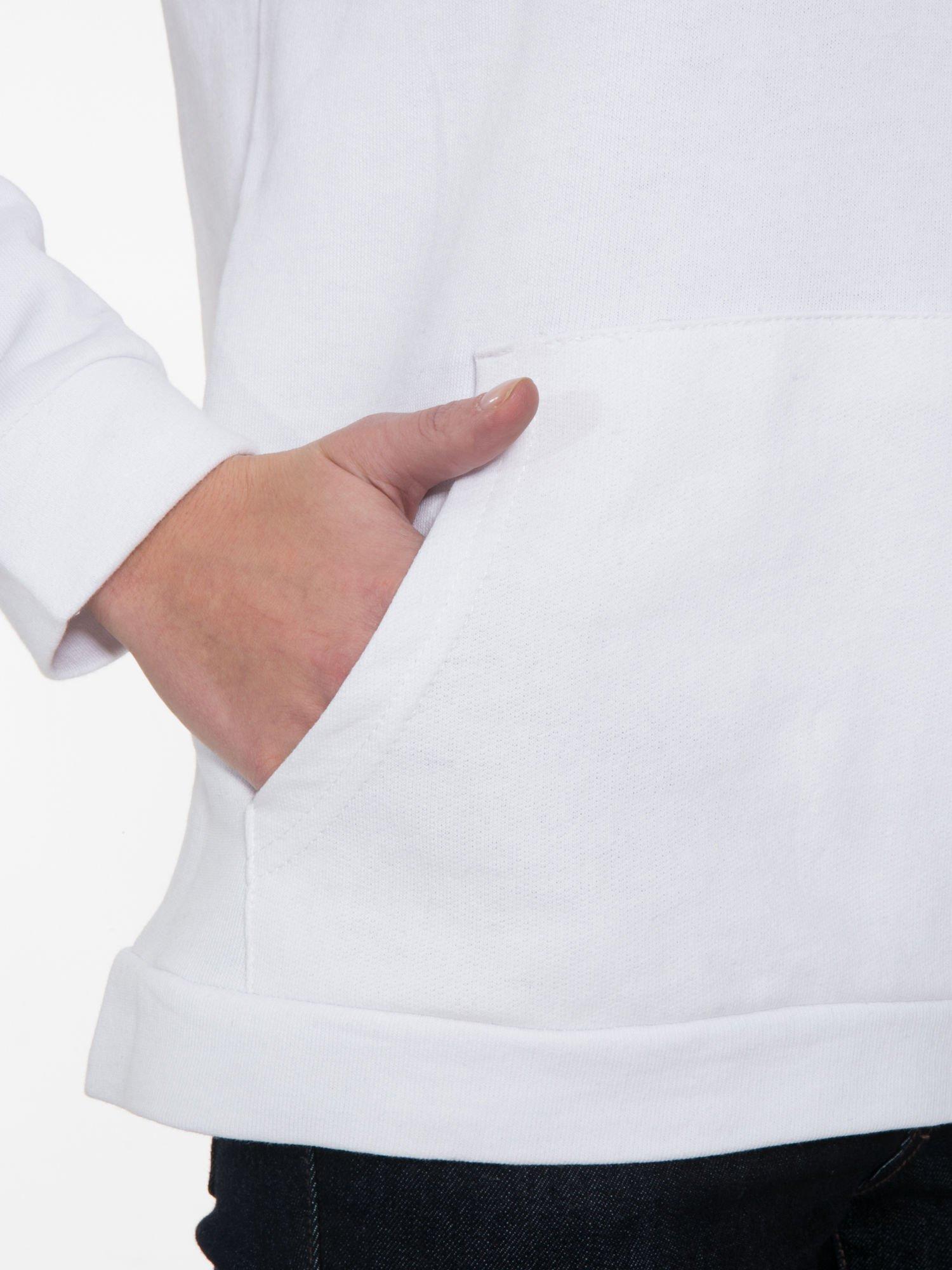 Biała  bluza kangur z kapturem i nadrukiem FÉLINE MEOW                                  zdj.                                  7