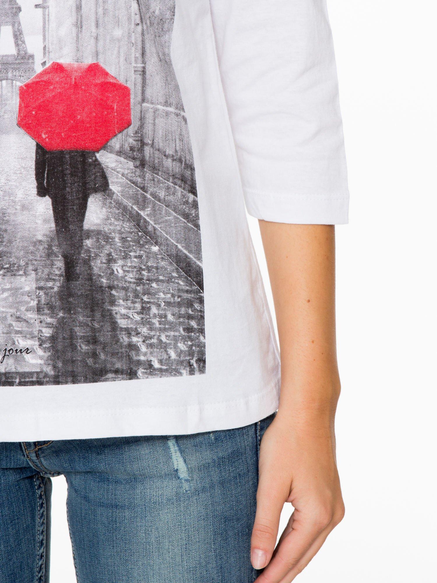 Biała bluzka z motywem Paryża                                  zdj.                                  7