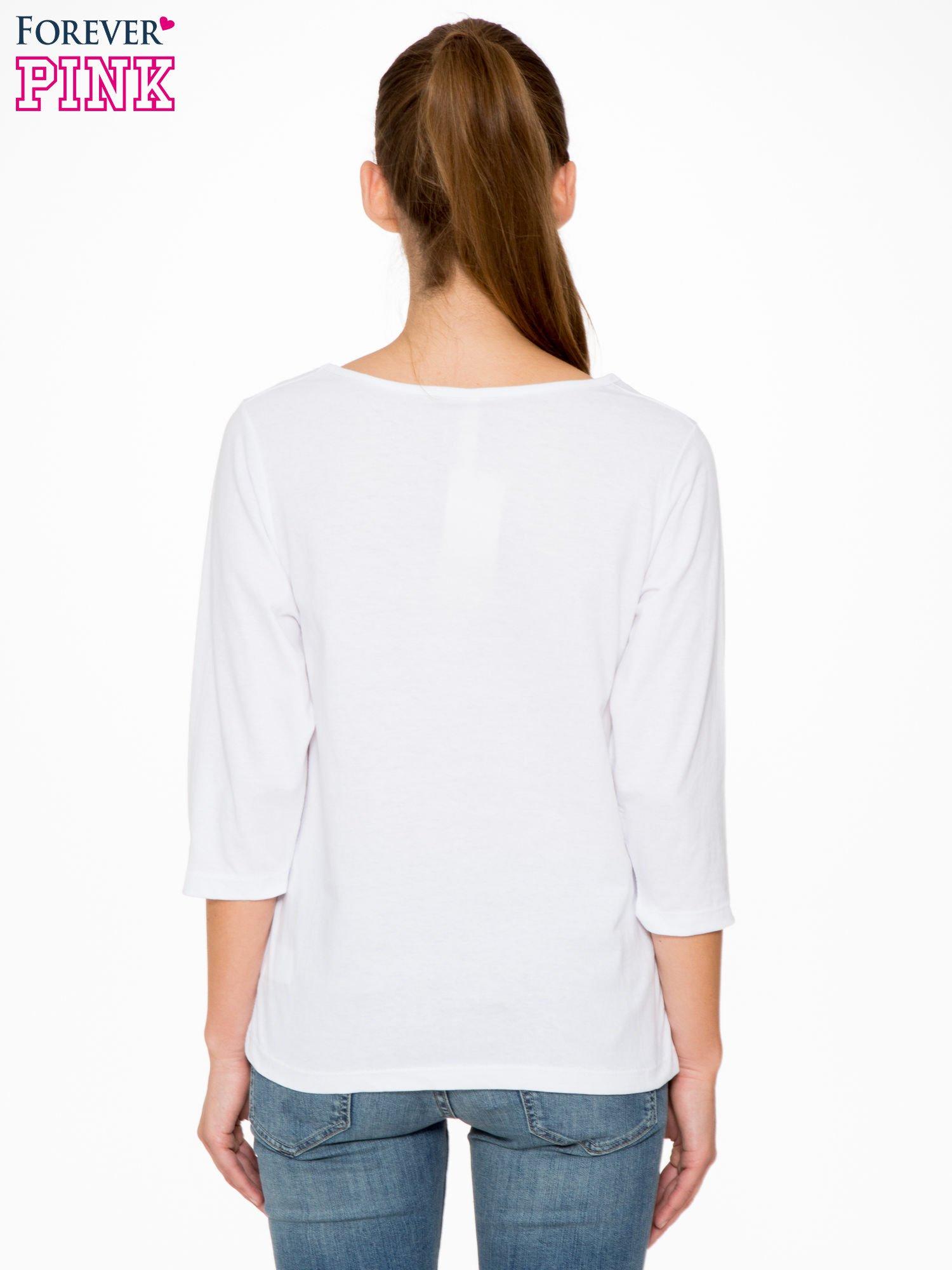 Biała bluzka z nadrukiem kotka i napisem JUST WANNA HAVE FUN?                                  zdj.                                  4