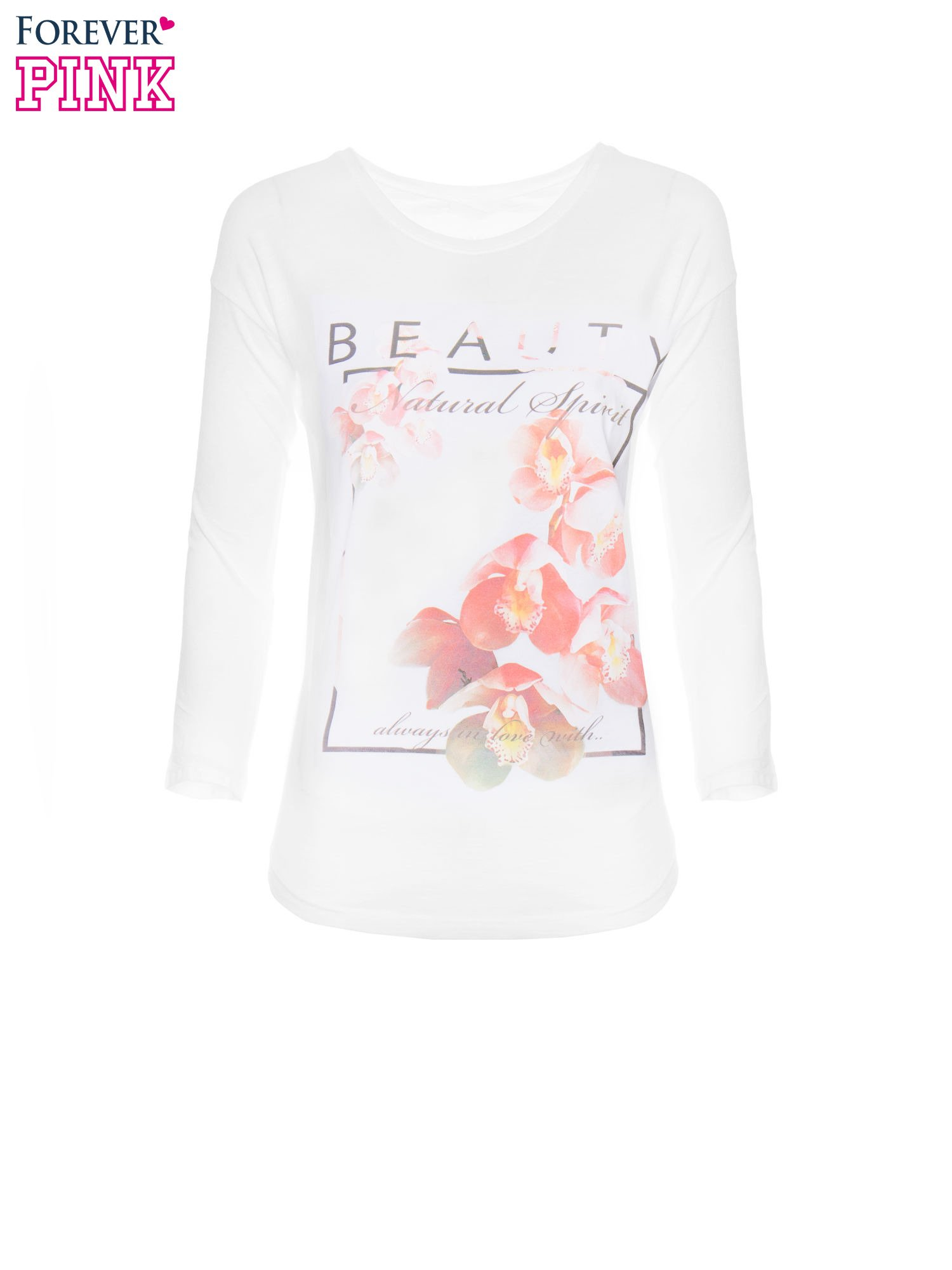 Biała bluzka z nadrukiem kwiatowym i napisem BEAUTY                                  zdj.                                  5