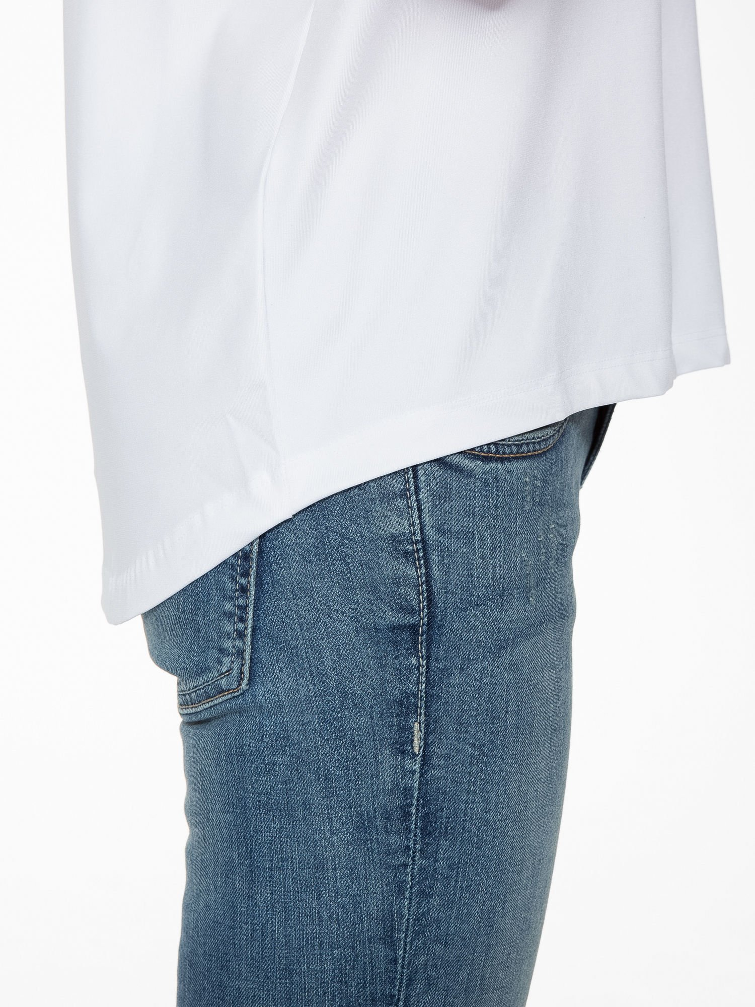 Biała bluzka z transparentnymi rękawkami                                  zdj.                                  8