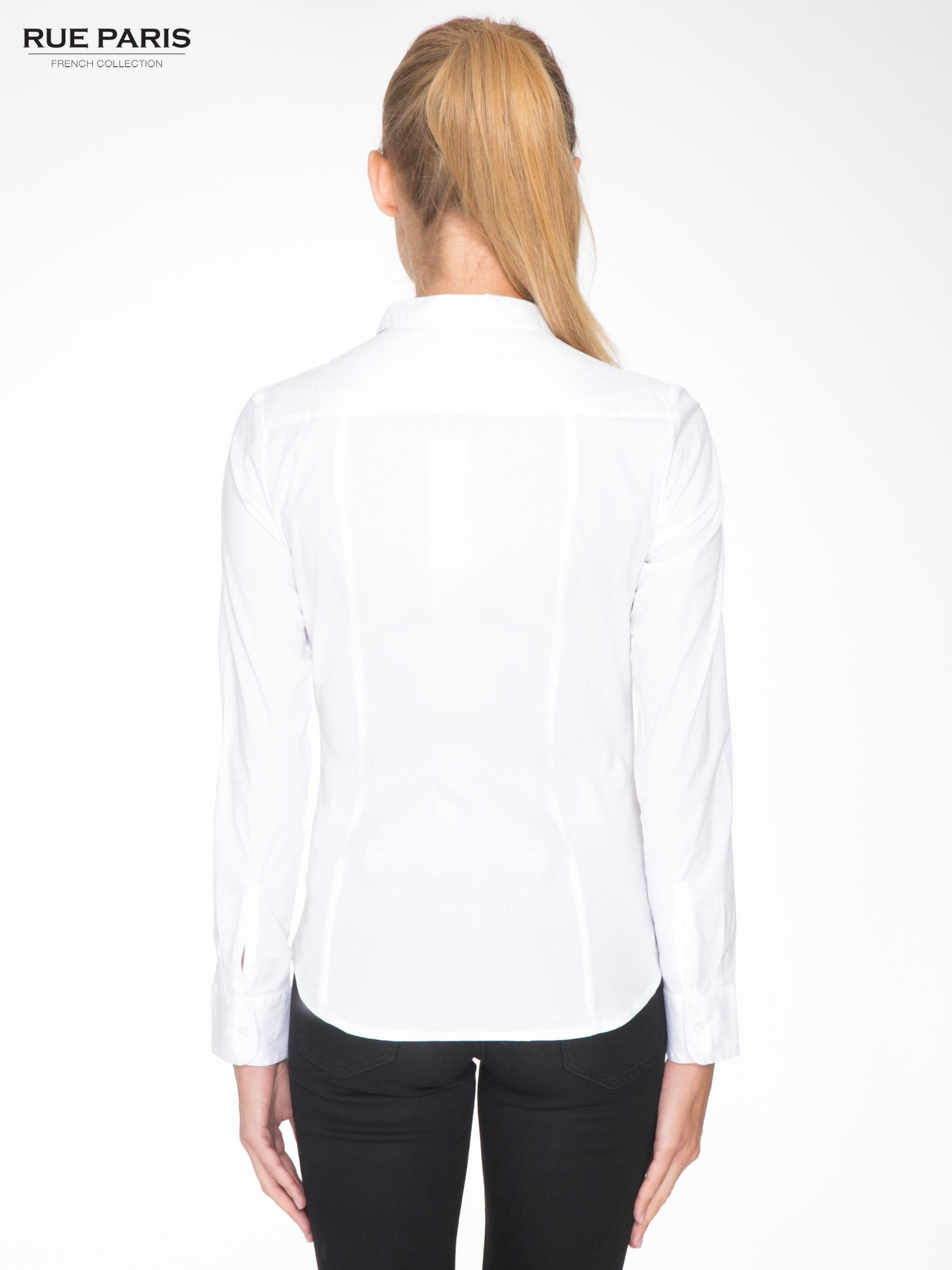 Biała elegancka koszula damska z krytą listwą                                  zdj.                                  4