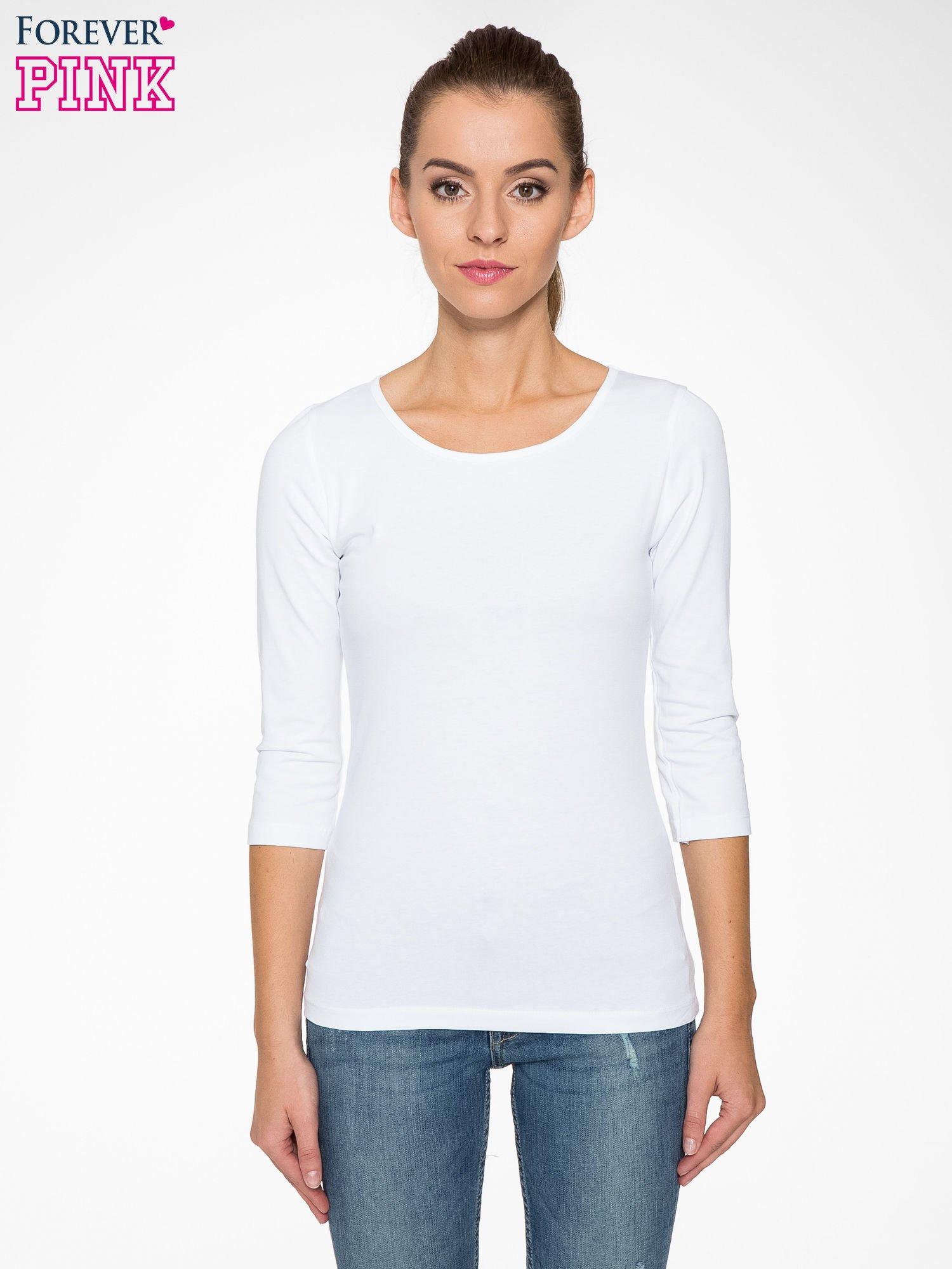 Biała gładka bluza z bawełny z rękawami 3/4                                  zdj.                                  1