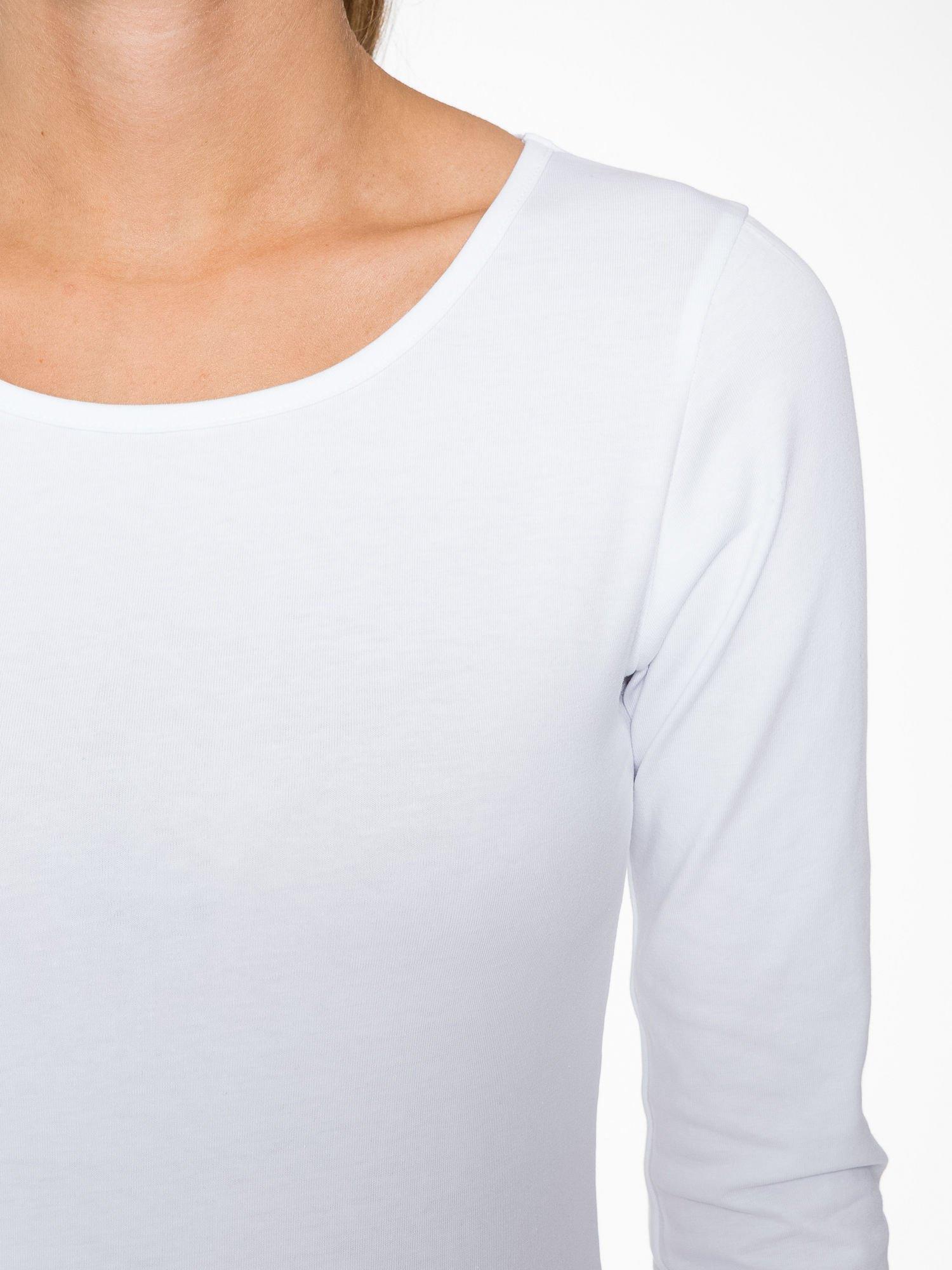 Biała gładka bluza z bawełny z rękawami 3/4                                  zdj.                                  7