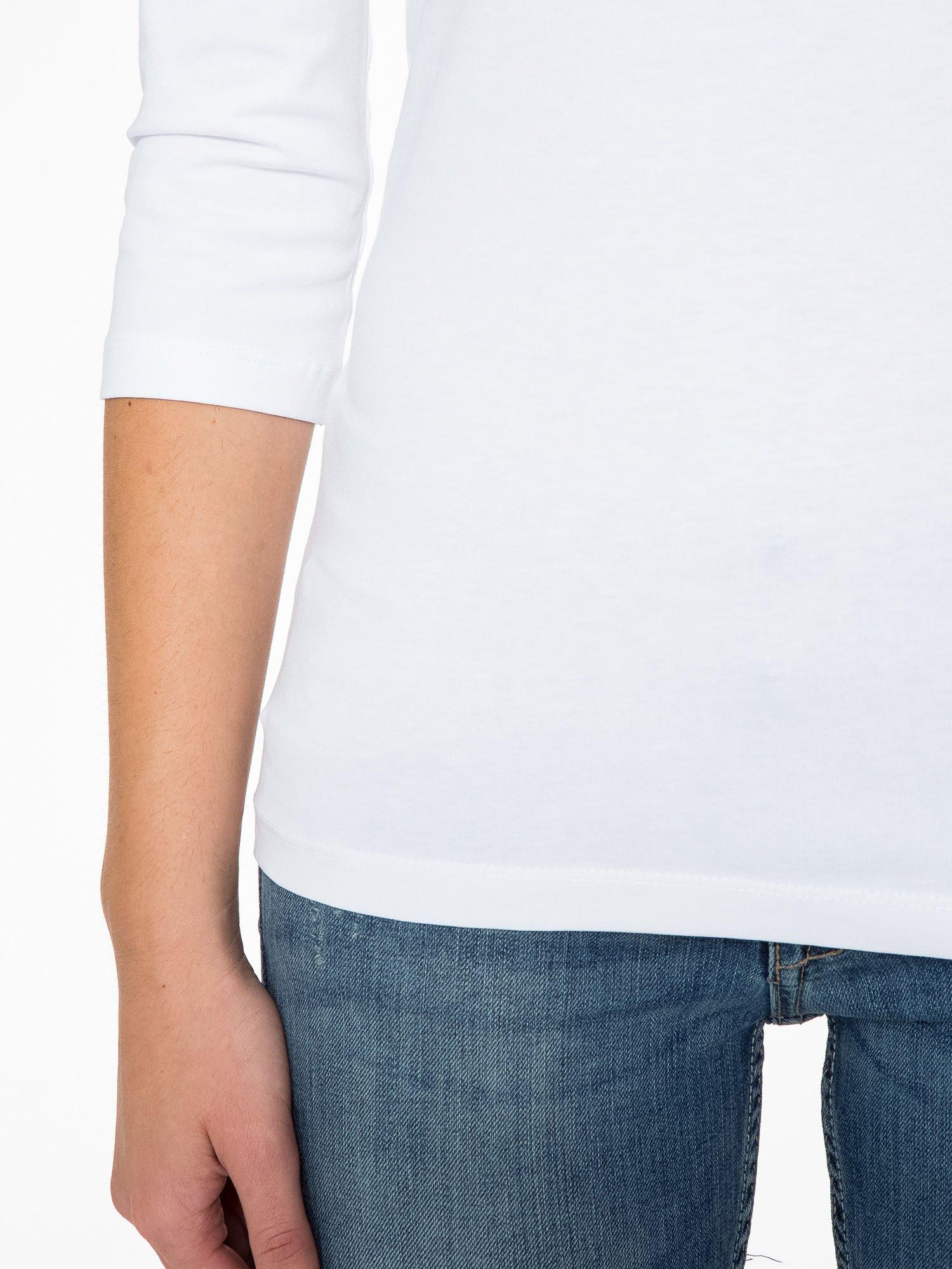 Biała gładka bluza z bawełny z rękawami 3/4                                  zdj.                                  8