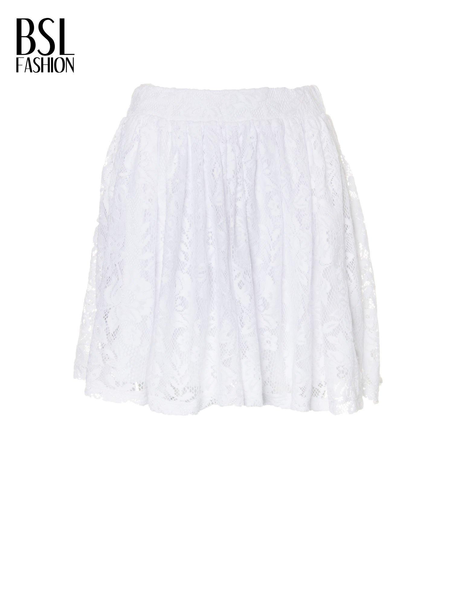 Biała koronkowa mini spódniczka na gumkę                                  zdj.                                  5