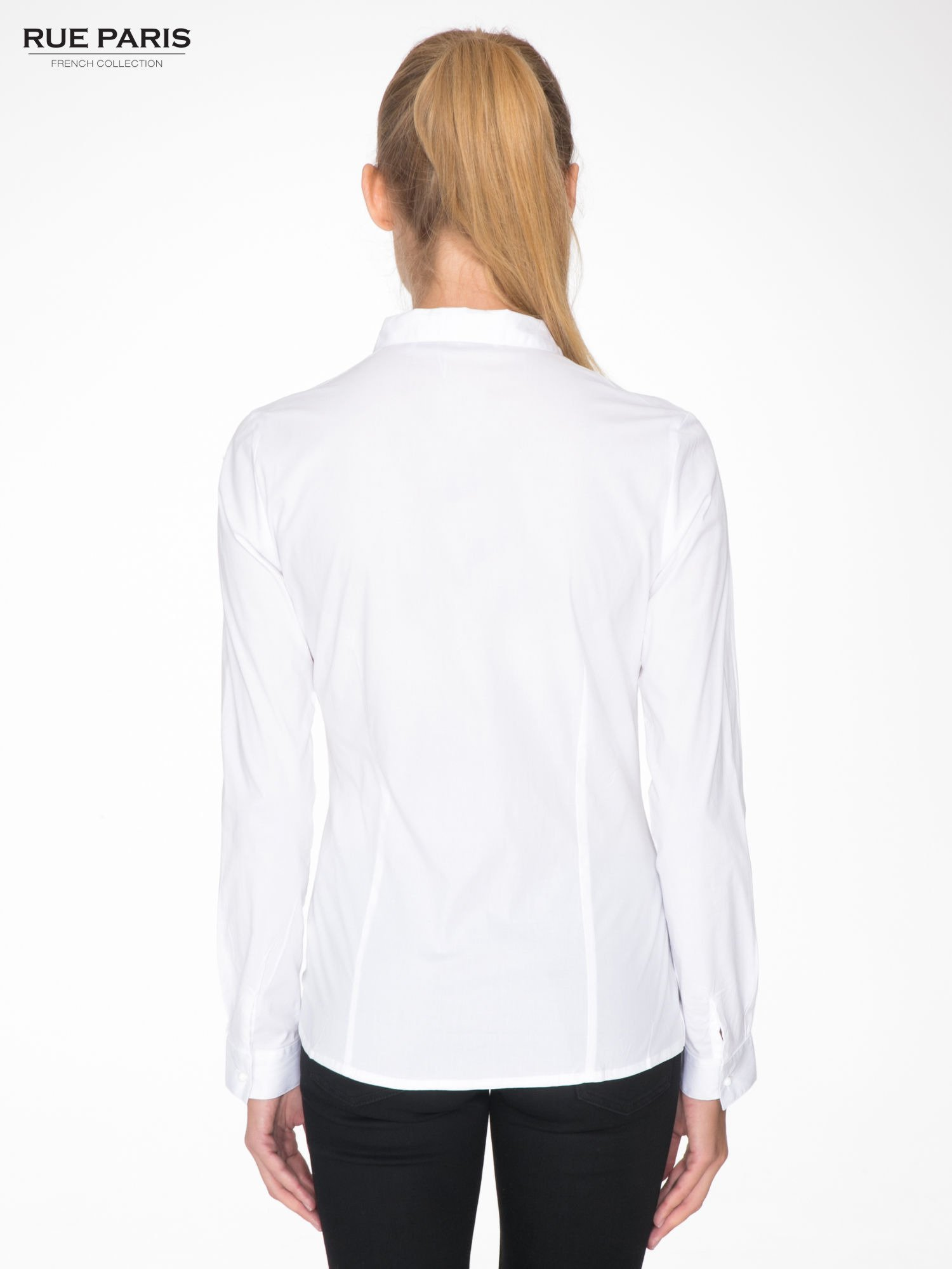 Biała koszula damska z ozdobną listwą                                  zdj.                                  4