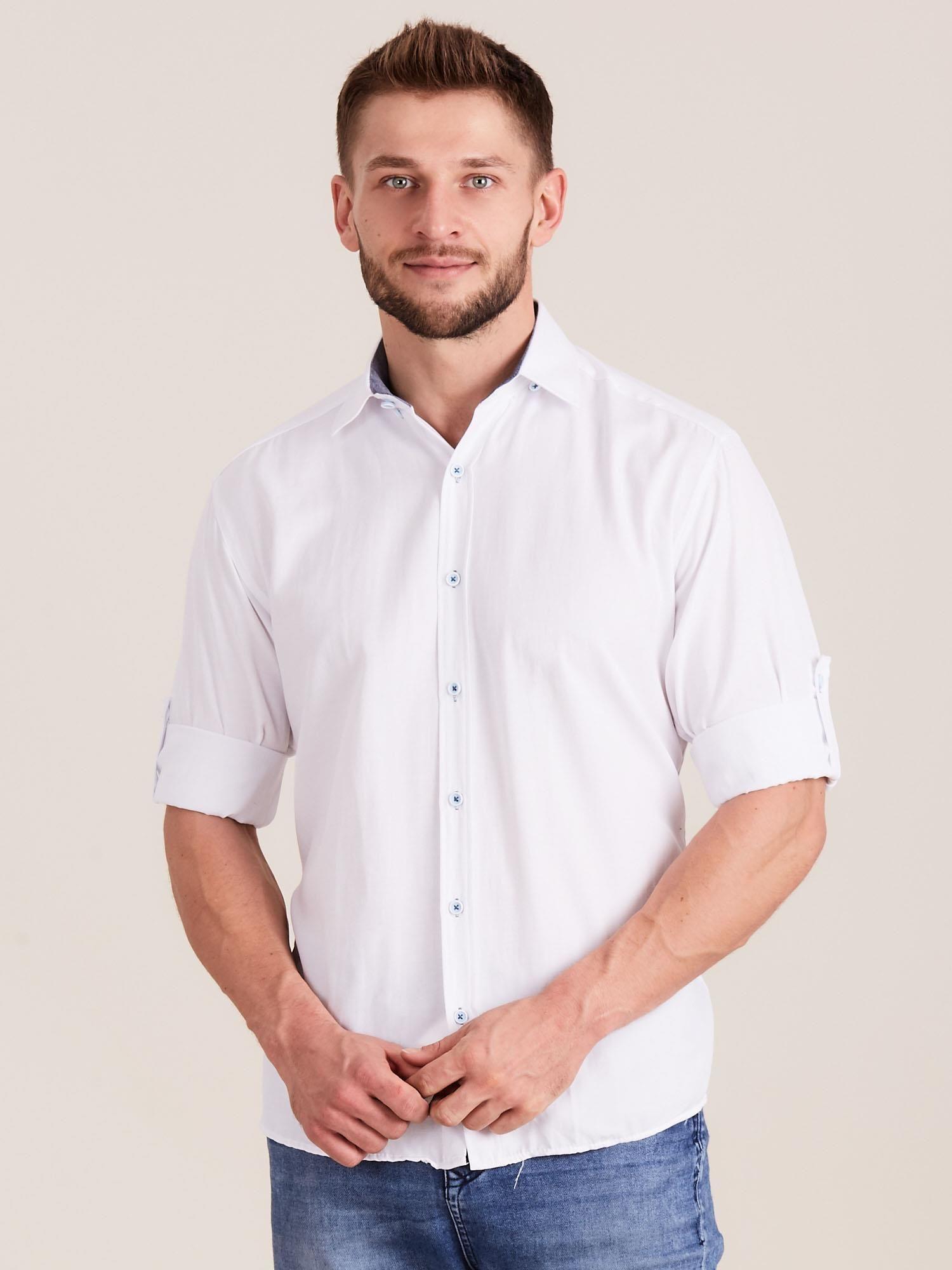 e60e8c310434f1 Biała koszula męska o regularnym kroju - Mężczyźni koszula męska ...