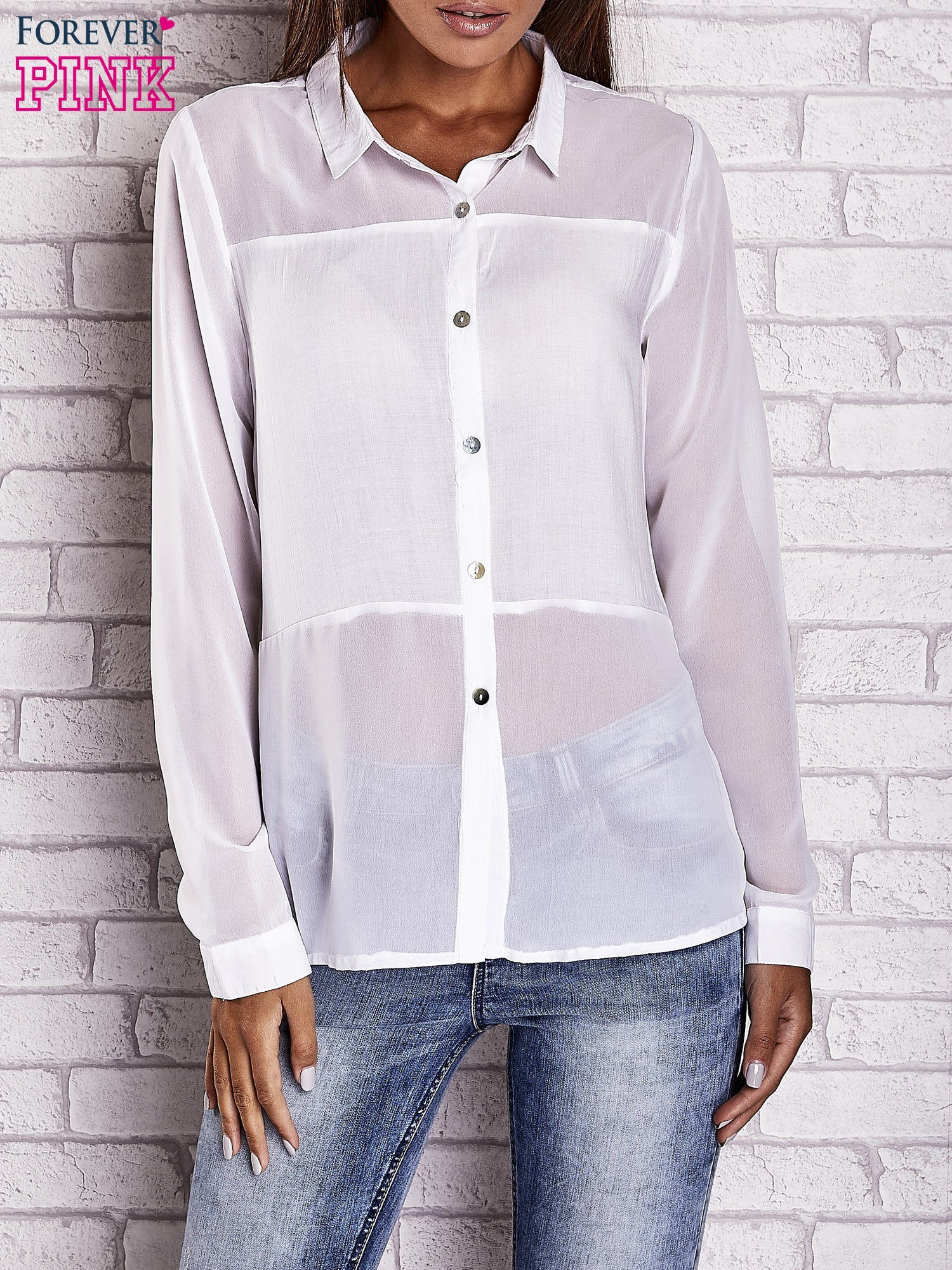 Biała koszula mgiełka z dłuższym tyłem                                  zdj.                                  1