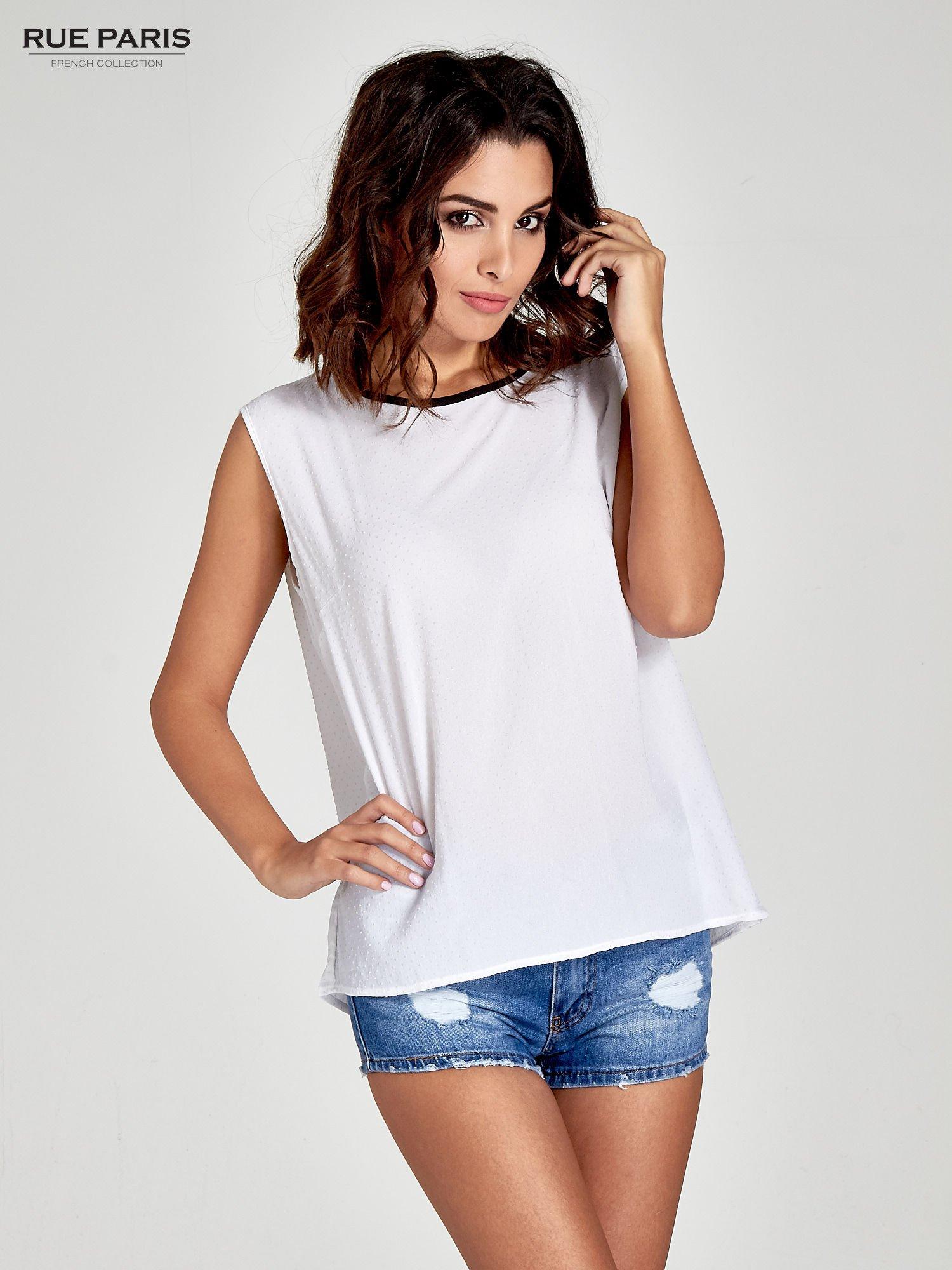 Biała koszula w kropki z kontrastową lamówką                                  zdj.                                  1