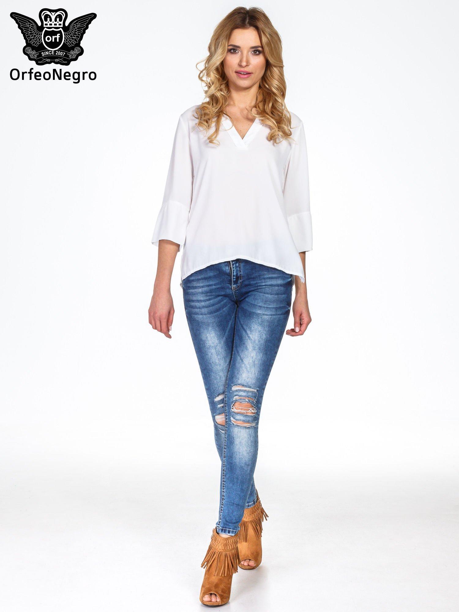 Biała koszula z dłuższym tyłem i rękawkami 3/4                                  zdj.                                  4
