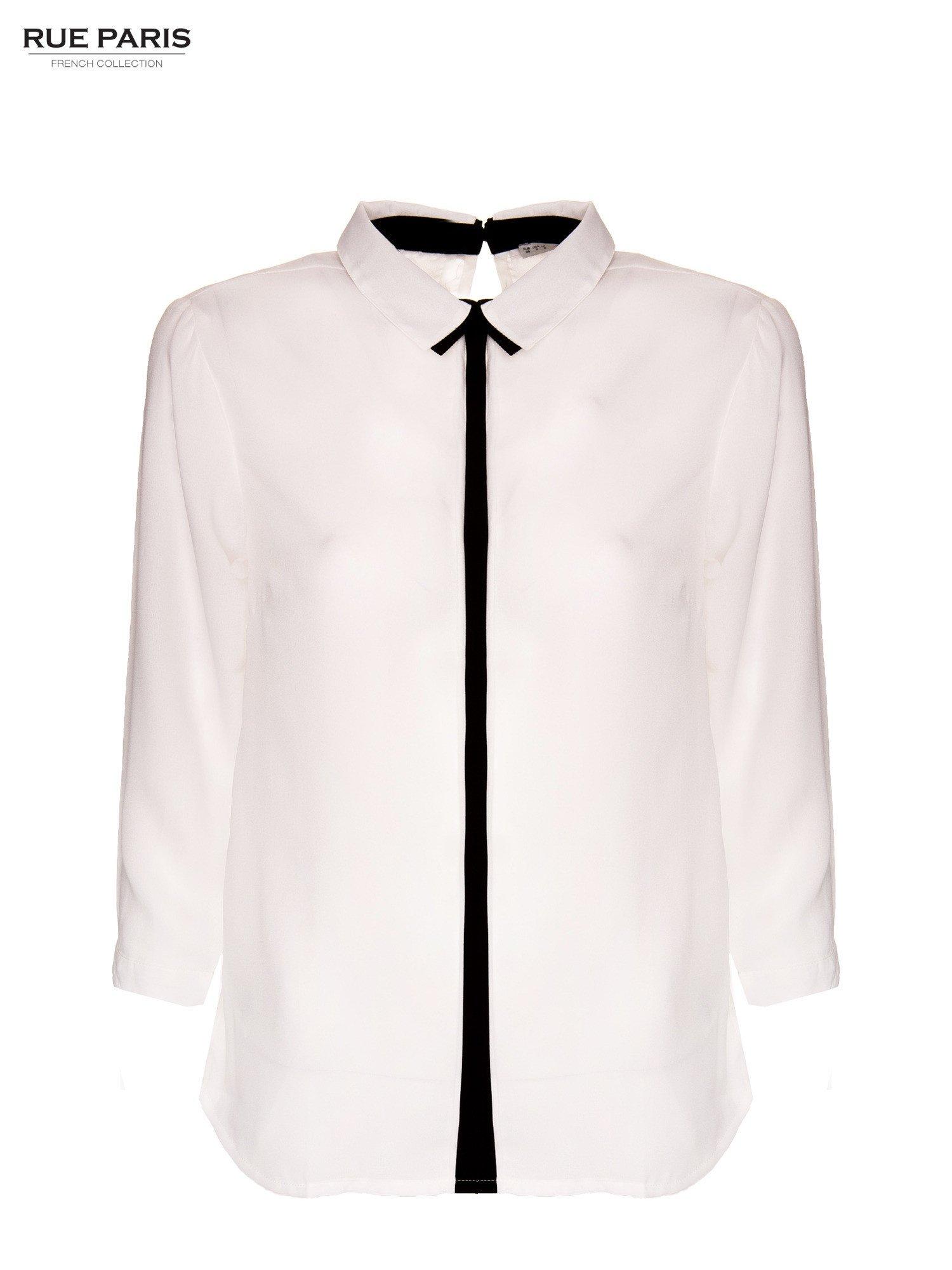 Biała koszula z kontrastowym pasem i kołnierzykiem                                  zdj.                                  2