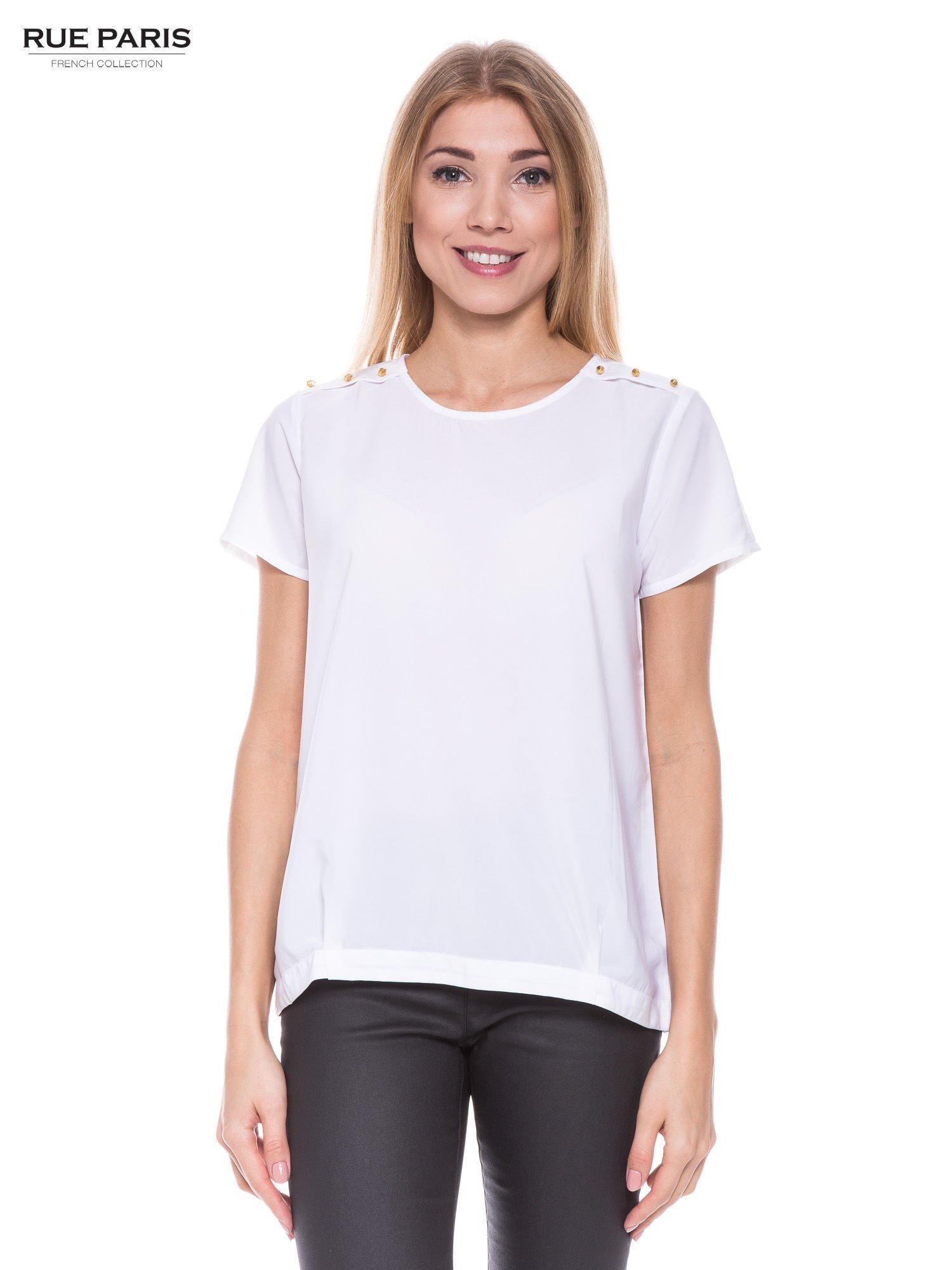 Biała koszula ze złotymi ćwiekami na ramionach                                  zdj.                                  1