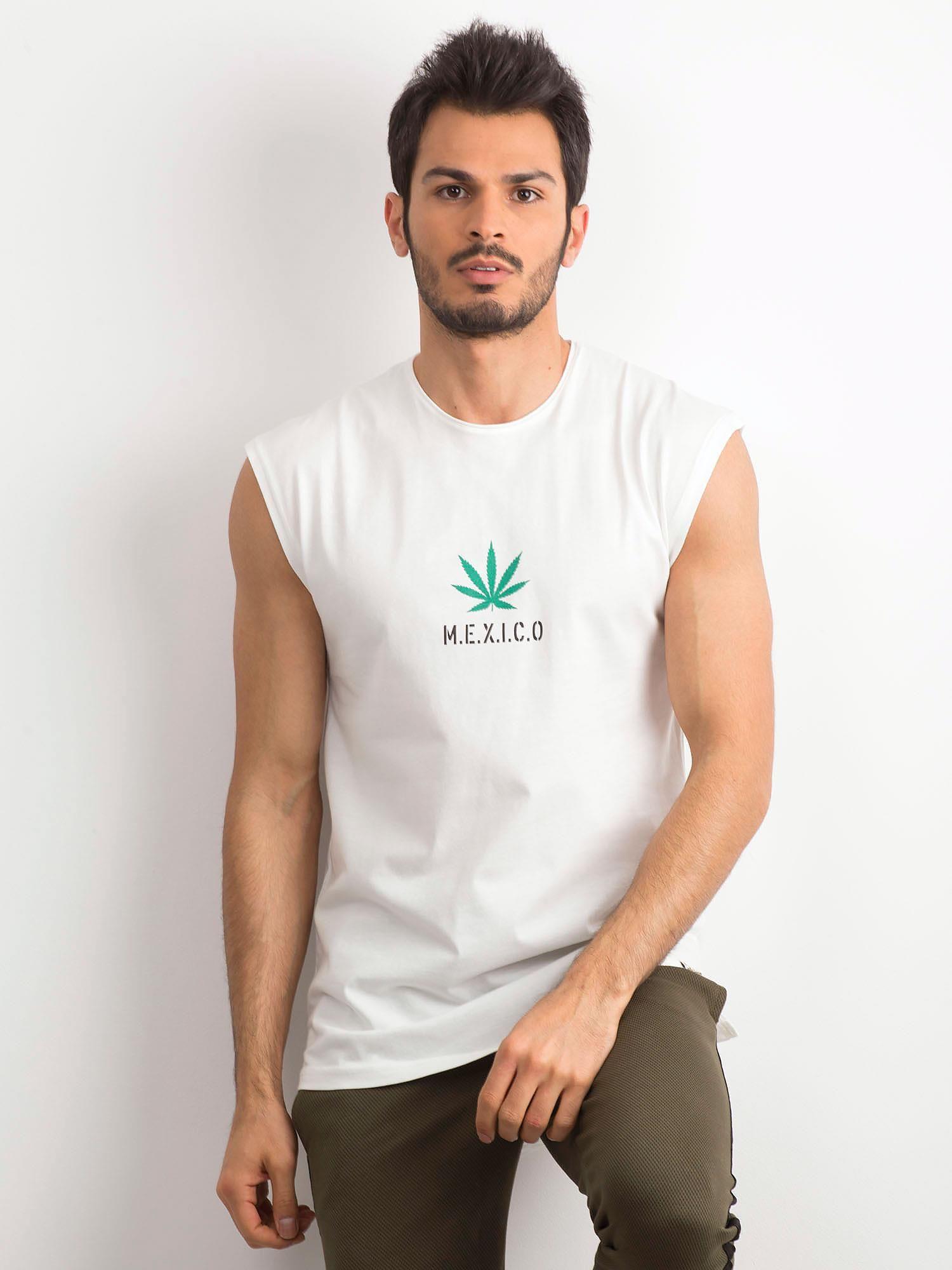 d27800ecfbcbfa Biała koszulka męska z nadrukiem - Mężczyźni koszulka na ramiączkach ...