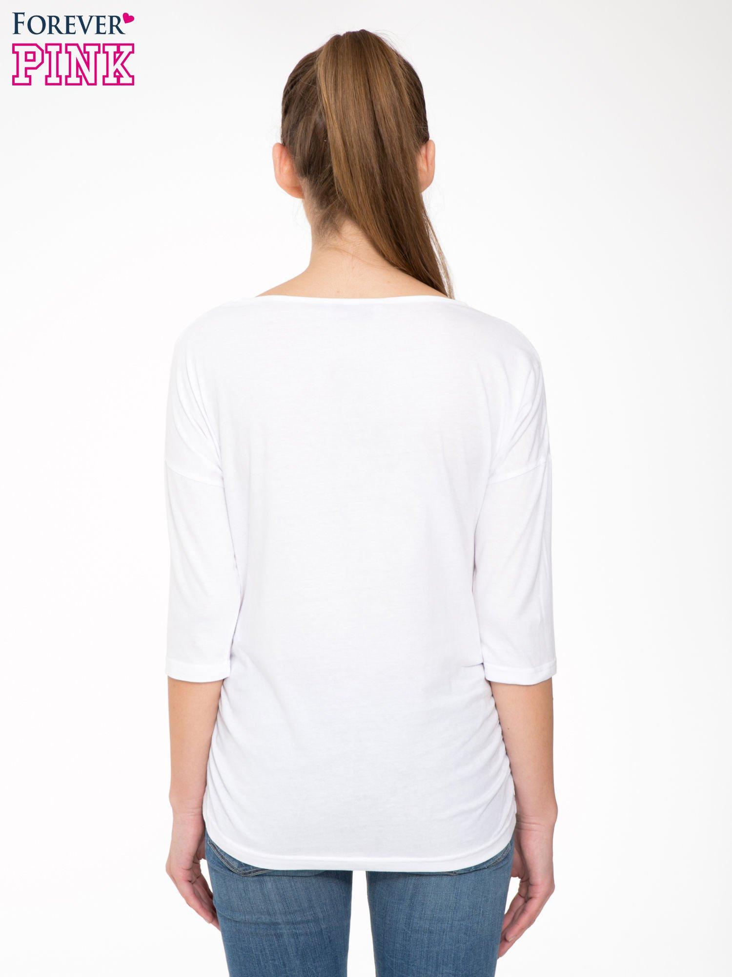Biała luźna bluzka z rękawem 3/4                                  zdj.                                  4