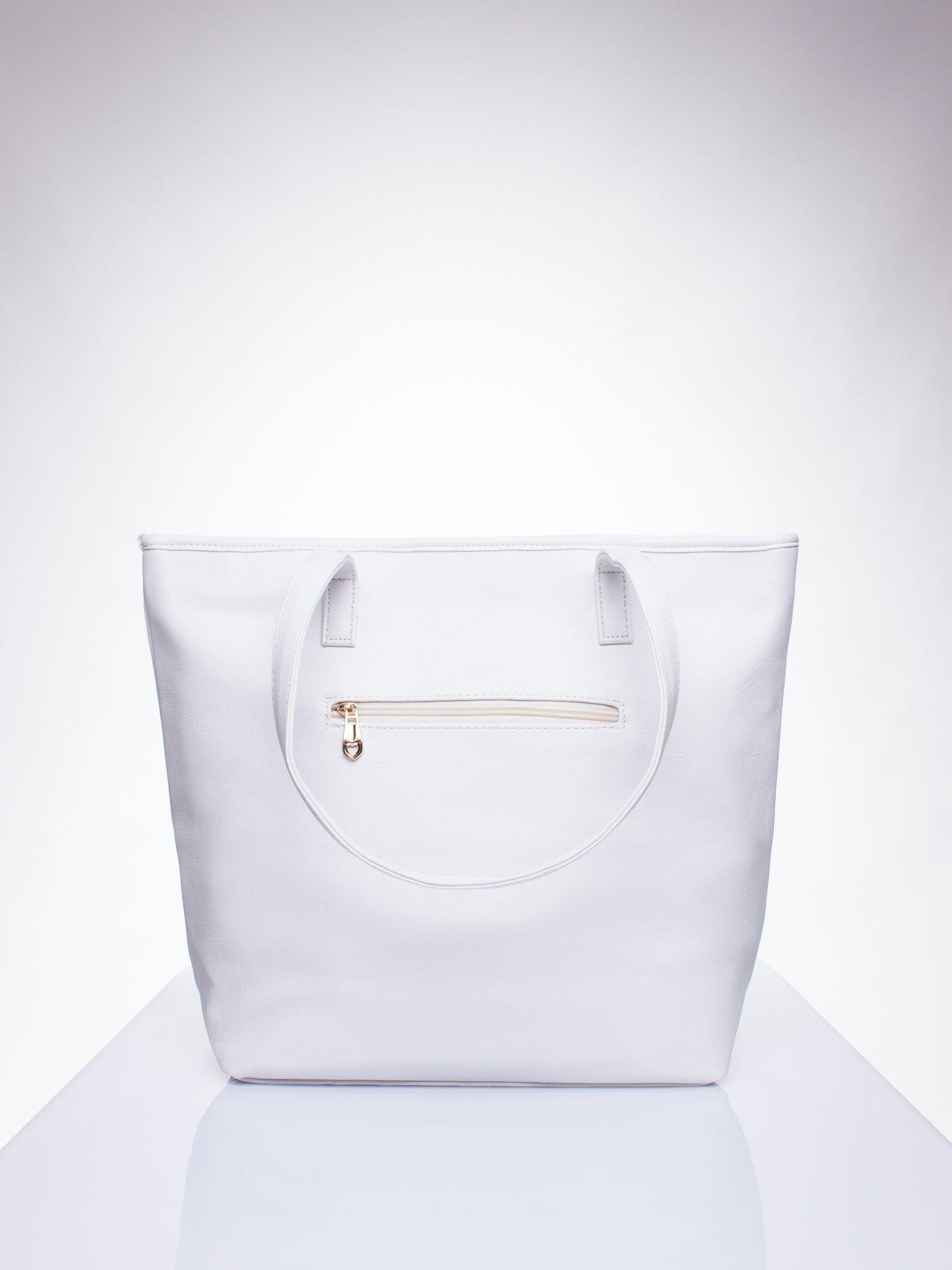 15958bee0d70d Biała prosta torba shopper bag ze złotymi okuciami - Akcesoria torba ...