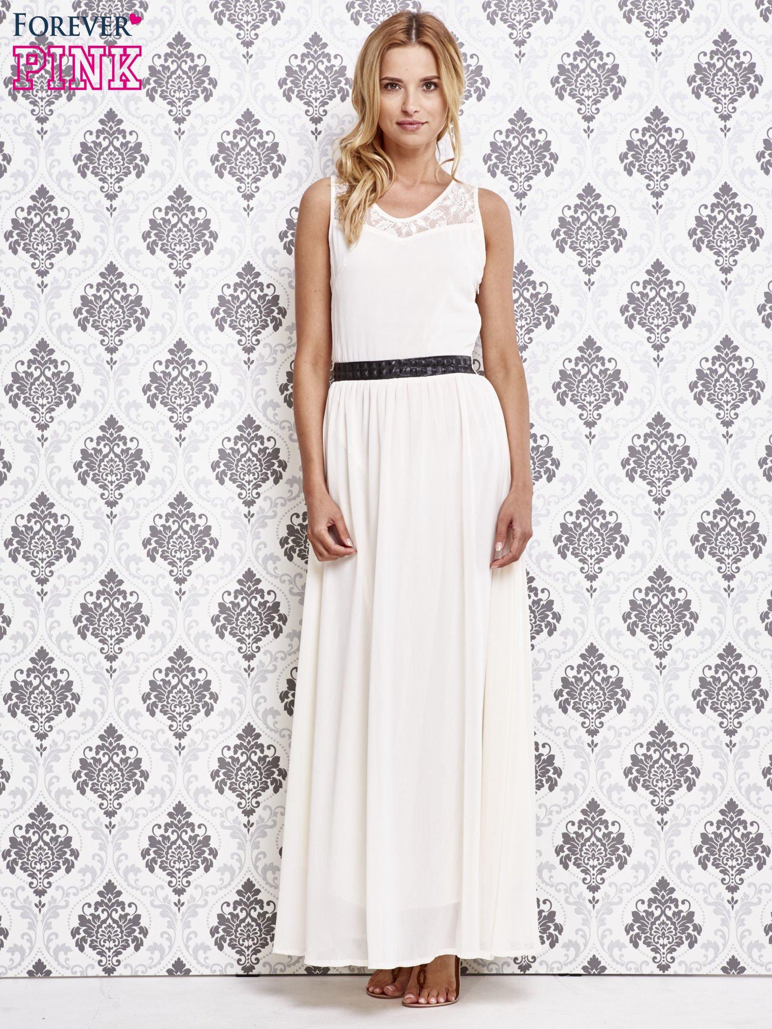Biała sukienka maxi ze skórzanym pasem a'la ćwieki                                  zdj.                                  4