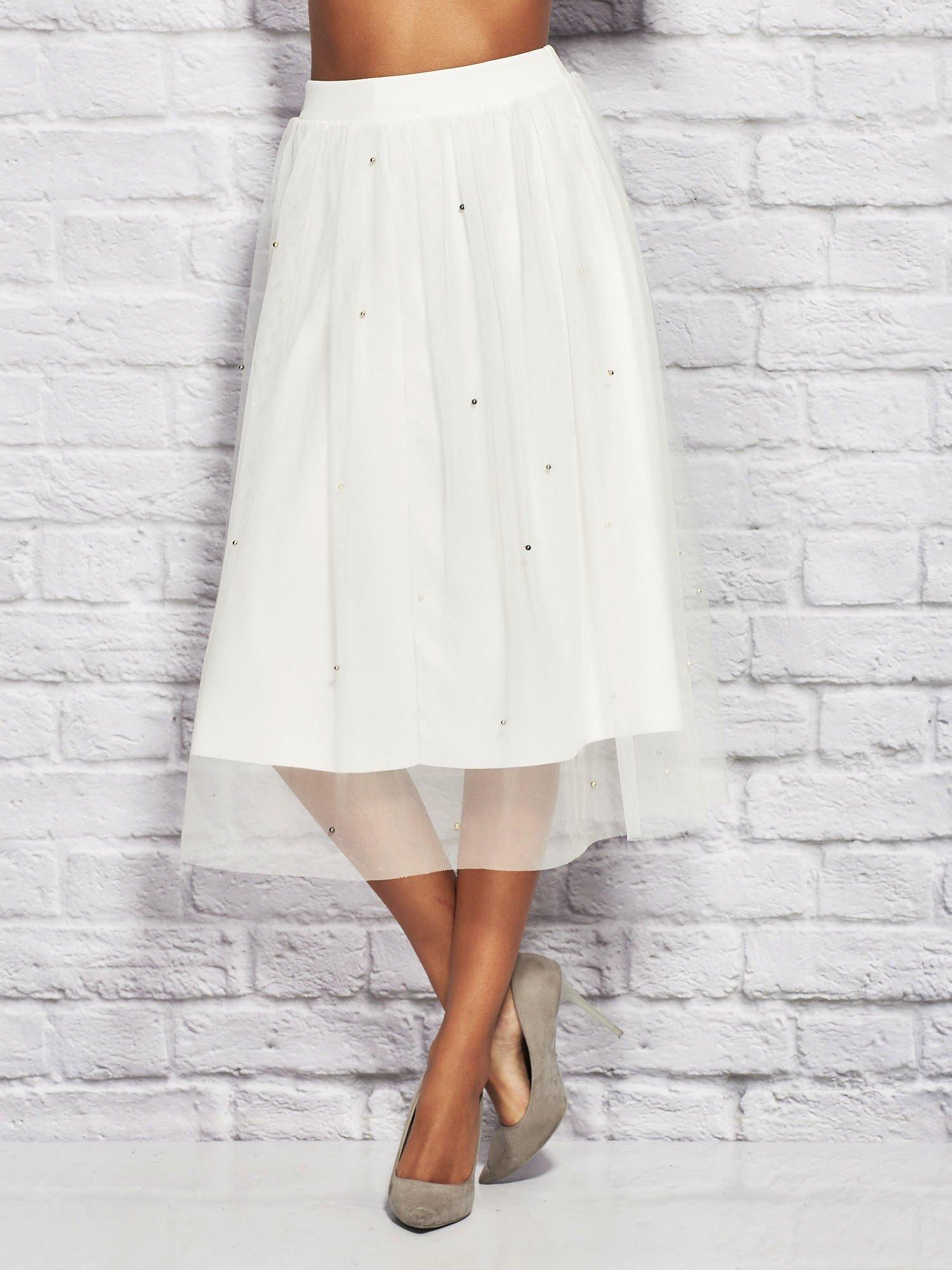 b1bd0a7b Biała tiulowa spódnica midi z perełkami
