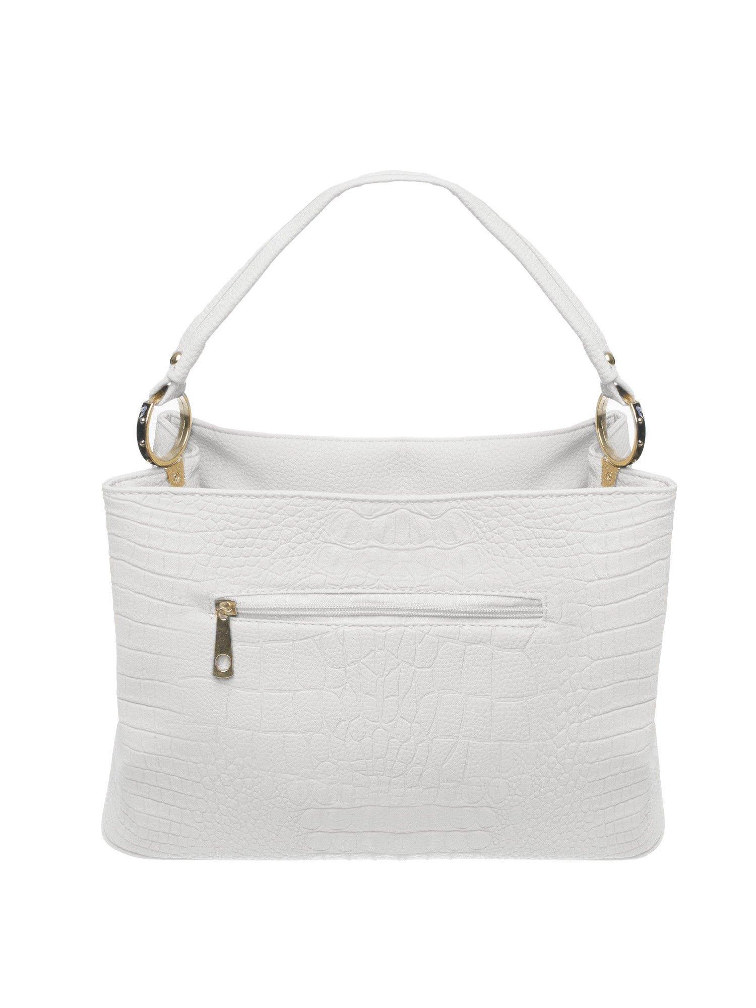 Biała torebka na ramię tłoczona na wzór skóry krokodyla                                  zdj.                                  2