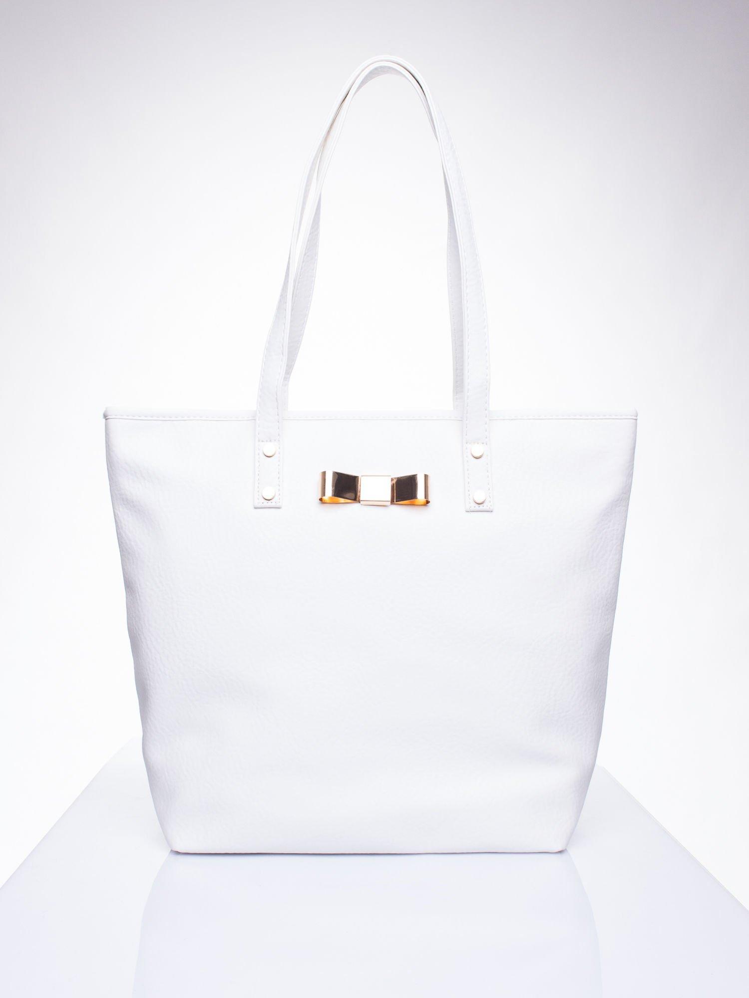 Biała torebka shopper bag z kokardką                                  zdj.                                  1