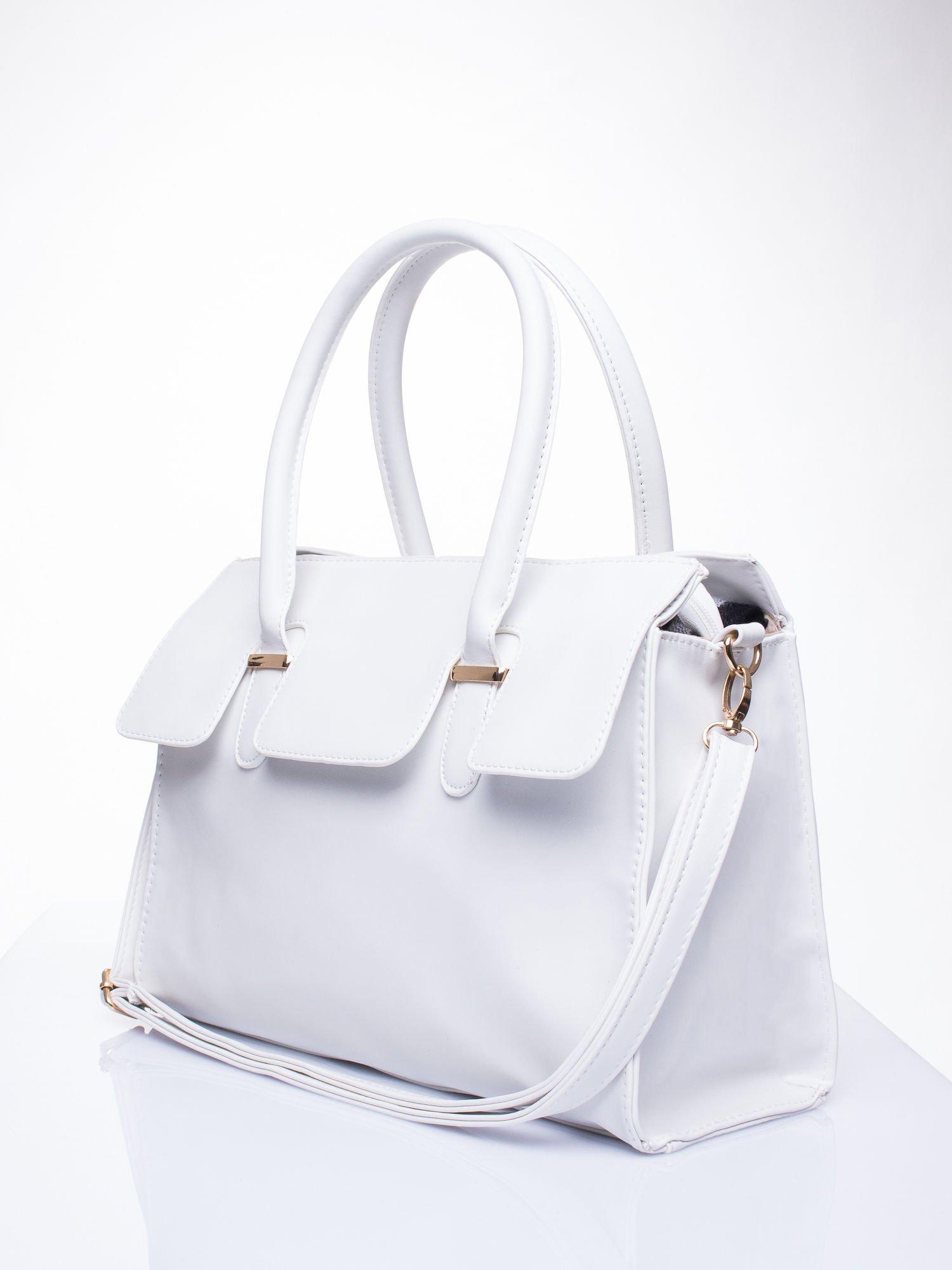 Biała torebka teczka z klapką                                  zdj.                                  3