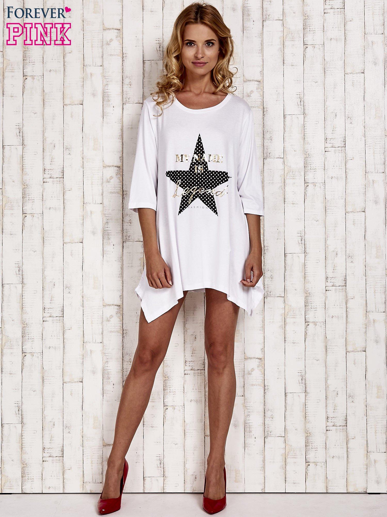 Biała tunika dresowa z printem gwiazdy                                  zdj.                                  2