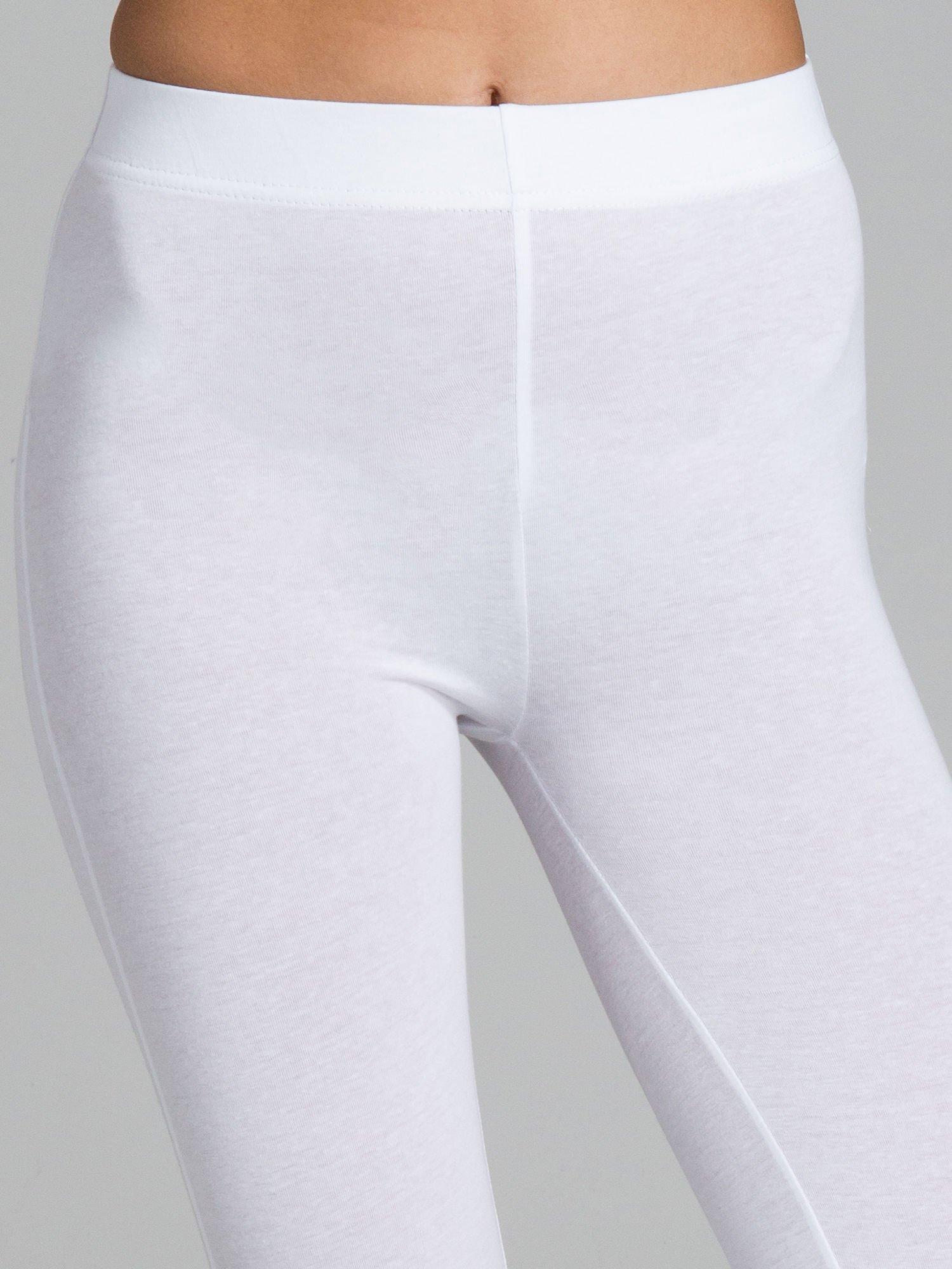 Białe legginsy ze złotym suwakiem na dole                                  zdj.                                  5