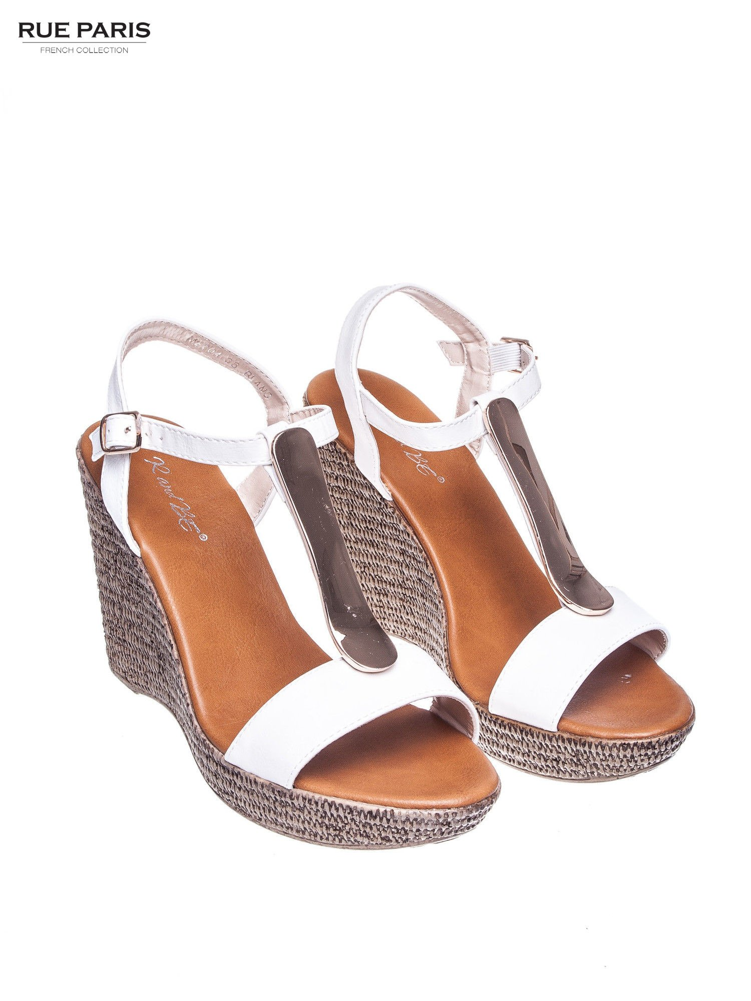 Białe letnie sandały t-bary na koturnie                                  zdj.                                  2