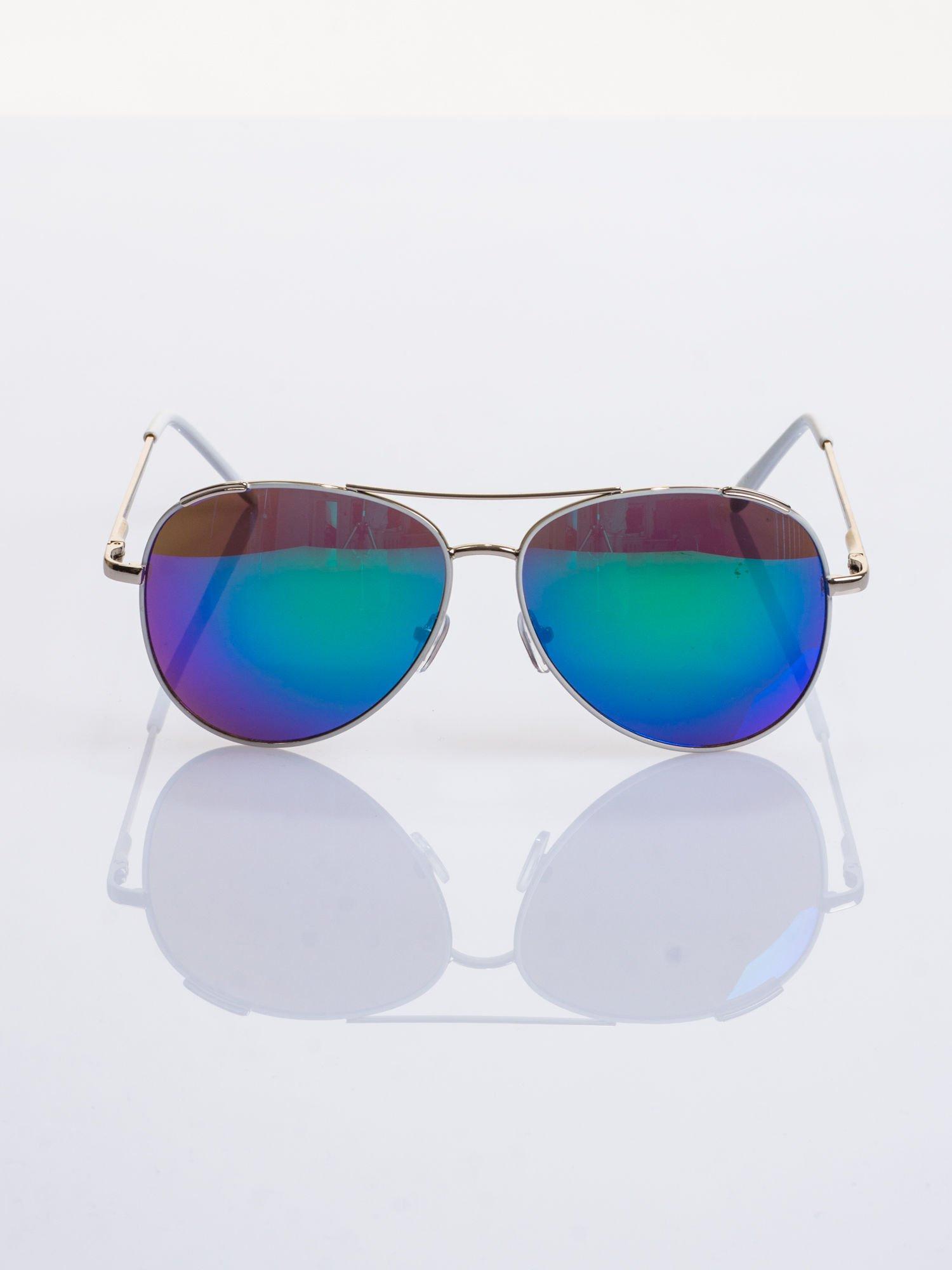 Białe okulary przeciwsłoneczne pilotki typu AVIATOR                                  zdj.                                  1