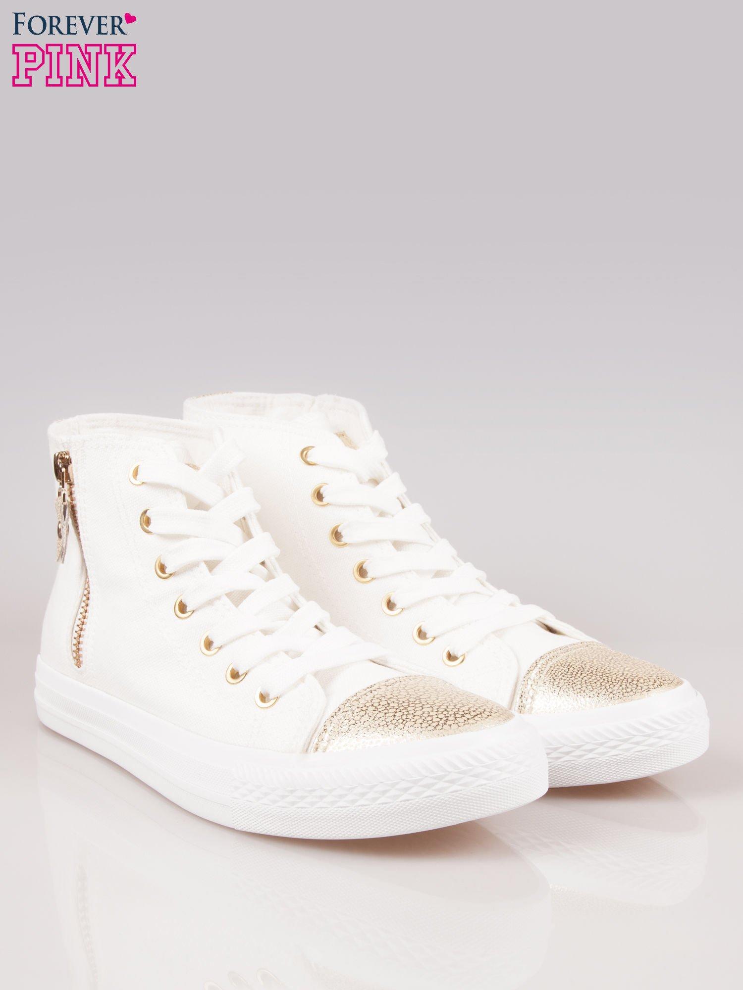 Białe sneakersy gold cap toe z suwakiem z boku                                  zdj.                                  2