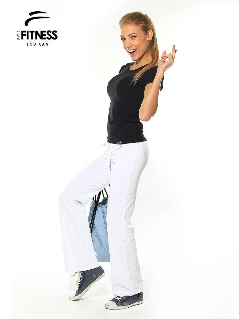 Białe spodnie dresowe z szeroką nogawką FOR FITNESS                                  zdj.                                  1