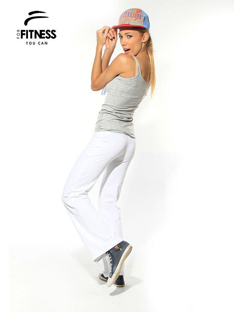 Białe spodnie dresowe z szeroką nogawką FOR FITNESS                                  zdj.                                  3
