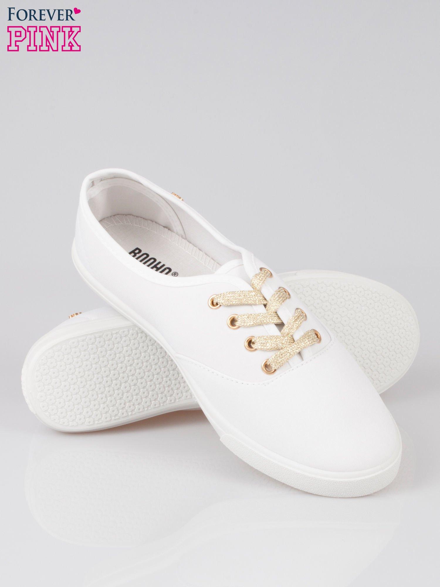 Białe tenisówki ze złotymi sznurowadłami Malibu                                  zdj.                                  4